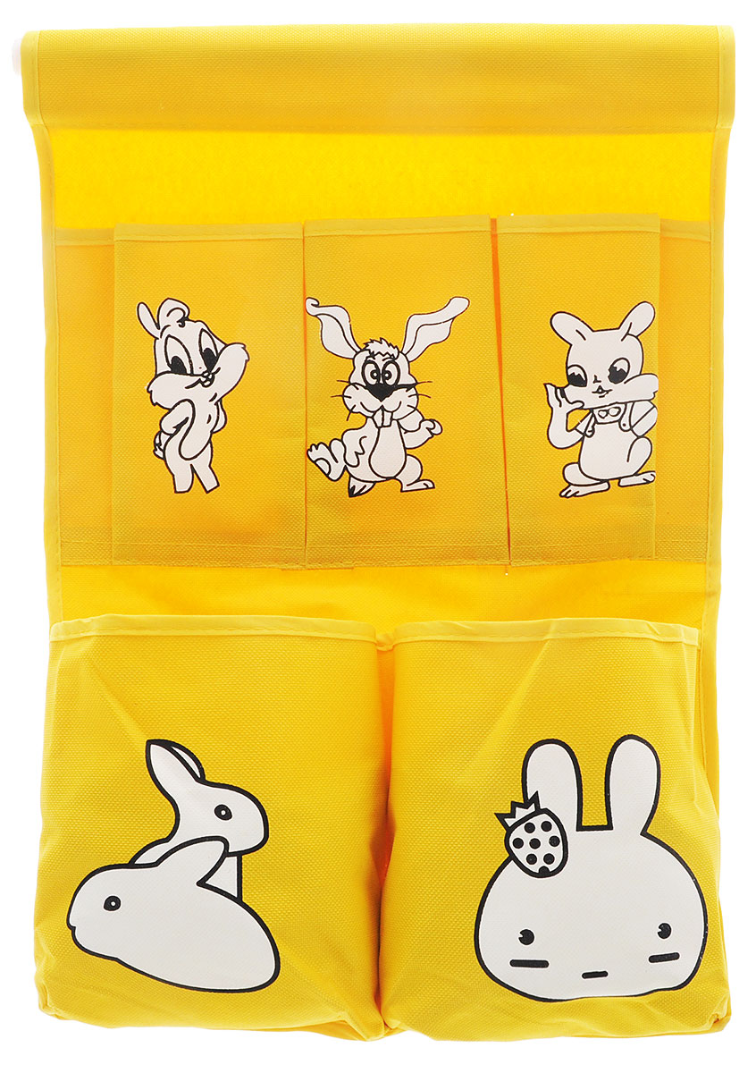 Органайзер для хранения Sima-land Зайчата, цвет: желтый, 5 отделенийБрелок для ключейОрганайзер Sima-land, изготовленный из текстиля, предназначен для хранения необходимых вещей, множества мелочей в гардеробной, ванной, детской комнатах. Изделие оснащено 5 кармашками, пришитыми к текстильному полотну. Этот нужный предмет может стать одновременно и декоративным элементом комнаты. Размер самого большого отделения: 14,5 х 16 см. Размер самого маленького отделения: 13,5 х 7,5 см.