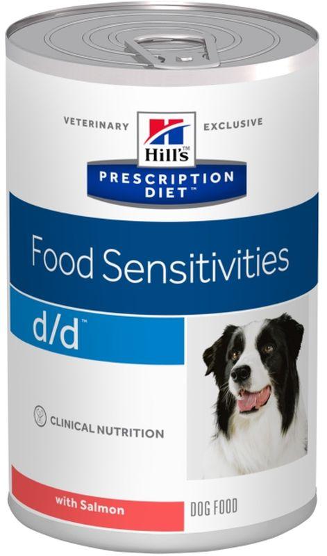 Консервы для собак Hills D/D, диетические, для лечения пищевых аллергий, с лососем, 370 г0120710Консервированный корм Hills D/D разработан для поддержания здоровья собак при кожных реакциях, рвоте и диарее в случае аллергии.Рекомендуется: - для стартовой диетотерапии у собак с любыми кожными реакциями; Уважаемые клиенты! Обращаем ваше внимание на возможные изменения в дизайне упаковки. Качественные характеристики товара остаются неизменными. Поставка осуществляется в зависимости от наличия на складе.- при атопическом, или связанном с реакцией на пищу и ее компоненты, кожном зуде; - при неблагоприятных реакциях на пищу и ее компоненты (с кожными или желудочно-кишечными проявлениями); - при кожном лейшманиозе; - В качестве элиминационной диеты. - ВАЖНО! При остром панкреатите используйте сухой рацион для собак Hills D/D только по окончании стартовой терапии (в течение которой пероральное введение любой пищи и жидкости не допускается). Не рекомендуется: кошкам, щенкам, беременным и кормящим собакам. Ключевые преимущества: - Помогает снизить признаки негативной реакции на пищу и поддержать функцию кожи, благодаря правильному соотношению натуральных Омега-3 жирных кислот в рационе.- Помогает нейтрализовать действие свободных радикалов за счет высокого содержания антиоксидантов.Состав: лосось, сухой, картофель, картофельный крахмал, экстракт протеинов картофеля, растительное масло, рыбий жир, целлюлоза, дикальция фосфат, йодированная соль, DL-метионин, таурин, витамины и микроэлементы.Среднее содержание нутриентов в рационе: протеины 4,6%, жиры 3,6%, углеводы 14,4%, клетчатка (общая) 0,5%, влага 75,6%, кальций 0,19%, фосфор 0,17%, натрий 0,08%, калий 0,19%, магний 0,01%, Омега-3 жирные кислоты 0,71%, Омега-6 жирные кислоты 0,84%, таурин 0,06%, Витамин A 4500 МЕ/кг, Витамин D 420 МЕ/кг, Витамин E 146 мг/кг, Витамин C 17 мг/кг, Бета-каротин 0,37 %Метаболизируемая энергия в рационе: Ккал/100 г 97, кДж/100 г 408, Ккал/банка 360. Энергетическая ценность протеинов: 17,0 %, рН м