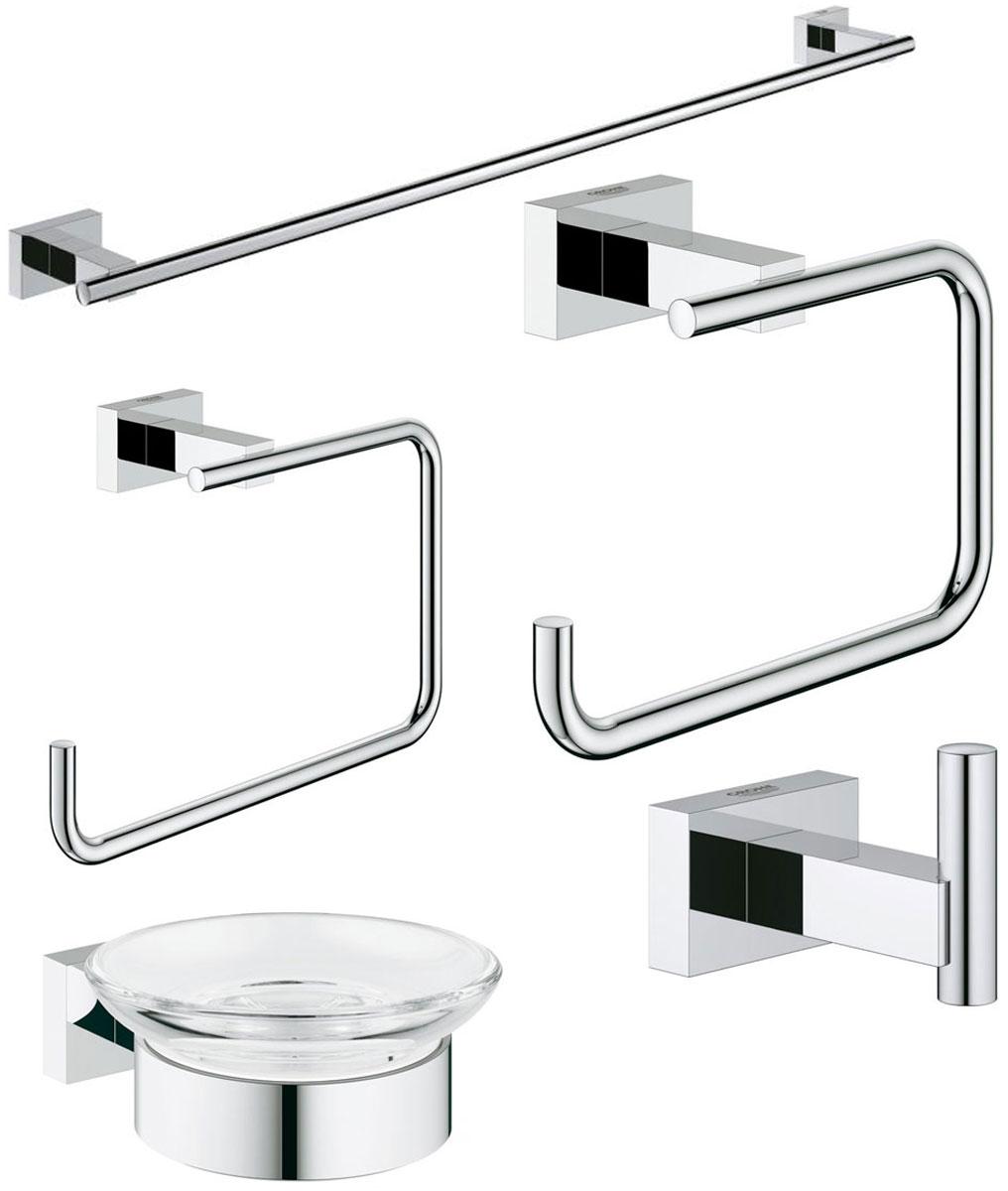 Набор аксессуаров для ванной комнаты Grohe Essentials Cube, 5 предметовRG-D31SНабор аксессуаров для ванной комнаты Grohe Essentials Cube включает мыльницу с держателем, держатель для банного полотенца, держатель туалетной бумаги, крючок для банного халата и кольцо для полотенца. Набор очень практичен и функционален. Изделия выполнены из металла с хромированным покрытием. Благодаря специальной технологии Grohe StarLight покрытие обеспечивает сияющий блеск на протяжении всего срока службы. Кроме того, оно отталкивает грязь, не тускнеет и обладает высокой степенью износостойкости. Аксессуары крепятся к стене (крепежные элементы поставляются в комплекте). Крепление скрытое.Благодаря неизменно актуальному дизайну и долговечному хромированному покрытию, такой набор отлично дополнит интерьер ванной комнаты, воплощая собой изысканный стиль и превосходное качество.Размер кольца для полотенец: 19 х 11,5 х 6 см. Размер крючка: 6 х 4 х 4 см. Размер держателя туалетной бумаги: 14 х 9 х 6 см. Диаметр мыльницы: 11 см. Размер мыльницы (с держателем): 12 х 11 х 4,5 см. Длина держателя для банного полотенца: 60 см.