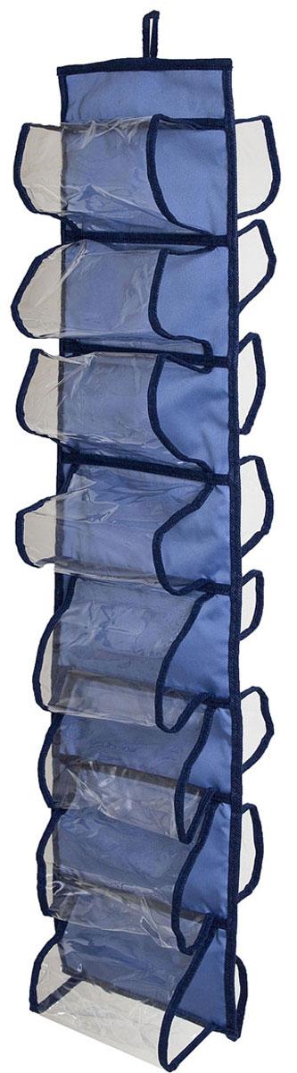 Органайзер для хранения шарфов и мелочей Homsu Bluе Sky, подвесной, 20 х 80 смU210DFПодвесной двусторонний органайзер для хранения Homsu Bluе Sky изготовлен из высококачественного нетканого материала (полиэстер). Изделие позволяет сохранить естественную вентиляцию, а воздуху свободно проникать внутрь, не пропуская пыль. Органайзер оснащен 16 раздельными секциями. Идеально подходит для хранения разных мелочей в шкафу. Мобильность конструкции обеспечивает складывание и раскладывание одним движением. Размер органайзера: 20 х 80 см.
