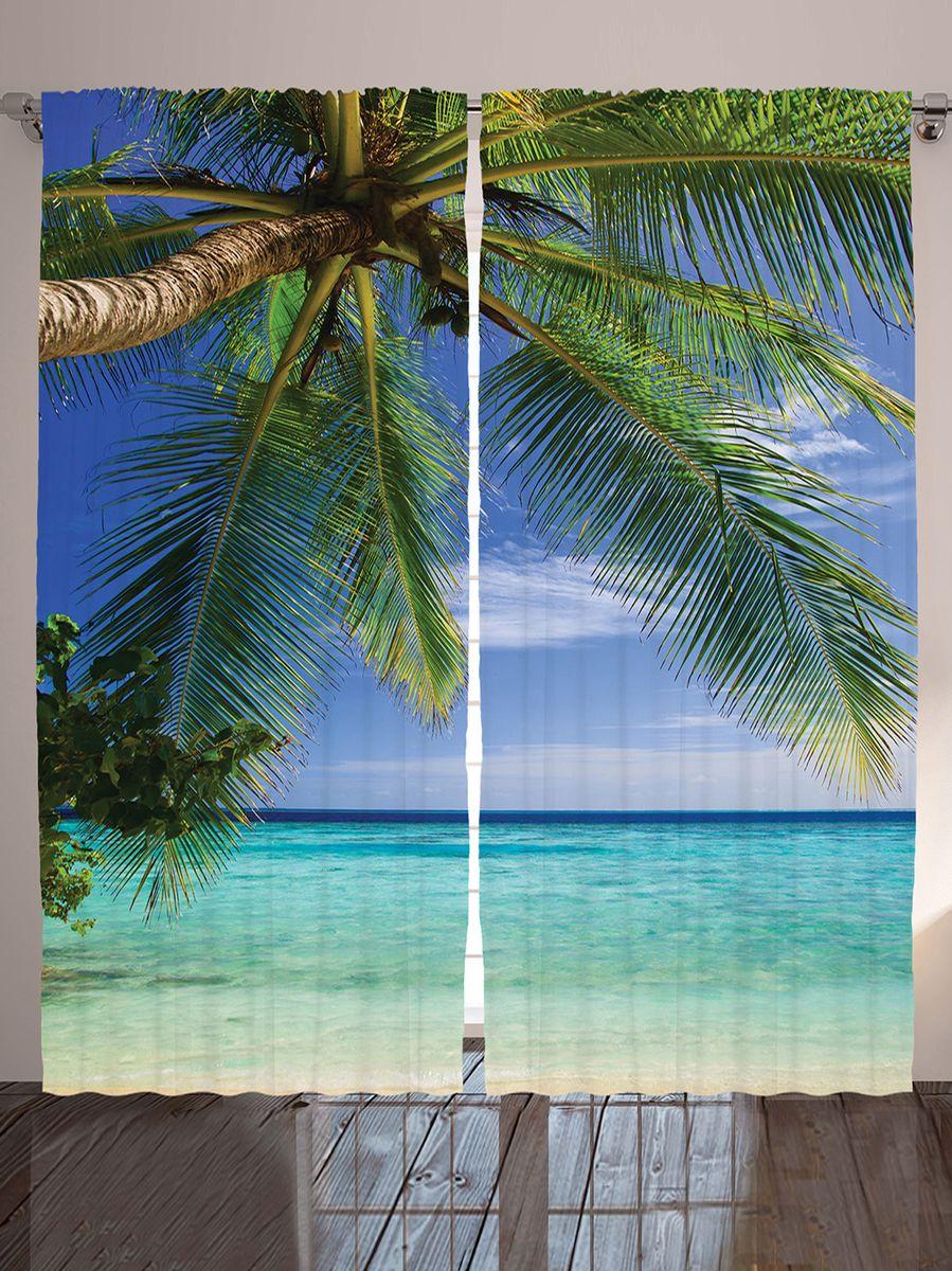 Комплект фотоштор Magic Lady Под пальмой, на ленте, высота 265 см. шсг_1004921323Компания Сэмболь изготавливает шторы из высококачественного сатена (полиэстер 100%). При изготовлении используются специальные гипоаллергенные чернила для прямой печати по ткани, безопасные для человека и животных. Экологичность продукции Magic lady и безопасность для окружающей среды подтверждены сертификатом Oeko-Tex Standard 100. Крепление: крючки для крепления на шторной ленте (50 шт). Возможно крепление на трубу. Внимание! При нанесении сублимационной печати на ткань технологическим методом при температуре 240°С, возможно отклонение полученных размеров (указанных на этикетке и сайте) от стандартных на + - 3-5 см. Производитель старается максимально точно передать цвета изделия на фотографиях, однако искажения неизбежны и фактический цвет изделия может отличаться от воспринимаемого по фото. Обратите внимание! Шторы изготовлены из полиэстра сатенового переплетения, а не из сатина (хлопок). Размер одного полотна шторы: 145х265 см. В комплекте 2 полотна шторы и 50 крючков.