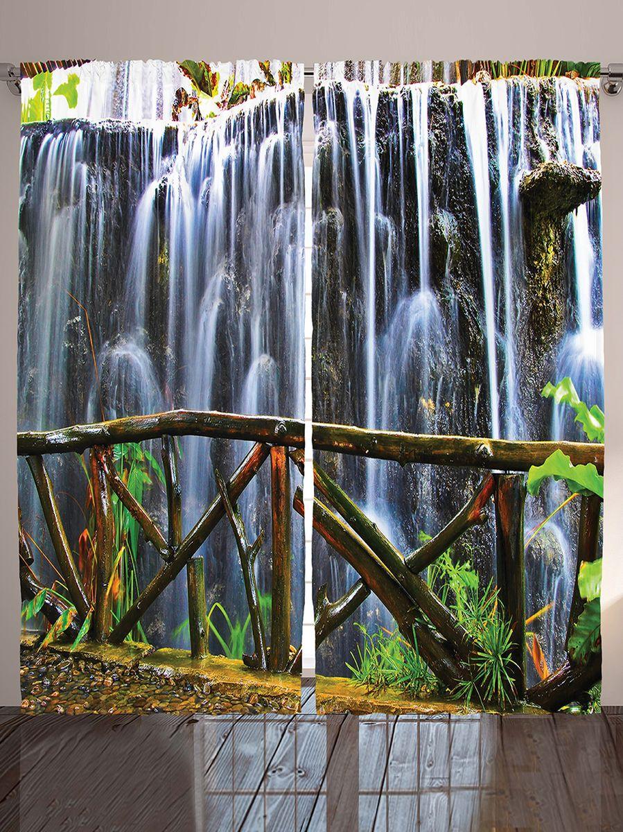 Комплект фотоштор Magic Lady Мост у водопада, на ленте, высота 265 см. шсг_1010221302Компания Сэмболь изготавливает шторы из высококачественного сатена (полиэстер 100%). При изготовлении используются специальные гипоаллергенные чернила для прямой печати по ткани, безопасные для человека и животных. Экологичность продукции Magic lady и безопасность для окружающей среды подтверждены сертификатом Oeko-Tex Standard 100. Крепление: крючки для крепления на шторной ленте (50 шт). Возможно крепление на трубу. Внимание! При нанесении сублимационной печати на ткань технологическим методом при температуре 240°С, возможно отклонение полученных размеров (указанных на этикетке и сайте) от стандартных на + - 3-5 см. Производитель старается максимально точно передать цвета изделия на фотографиях, однако искажения неизбежны и фактический цвет изделия может отличаться от воспринимаемого по фото. Обратите внимание! Шторы изготовлены из полиэстра сатенового переплетения, а не из сатина (хлопок). Размер одного полотна шторы: 145х265 см. В комплекте 2 полотна шторы и 50 крючков.