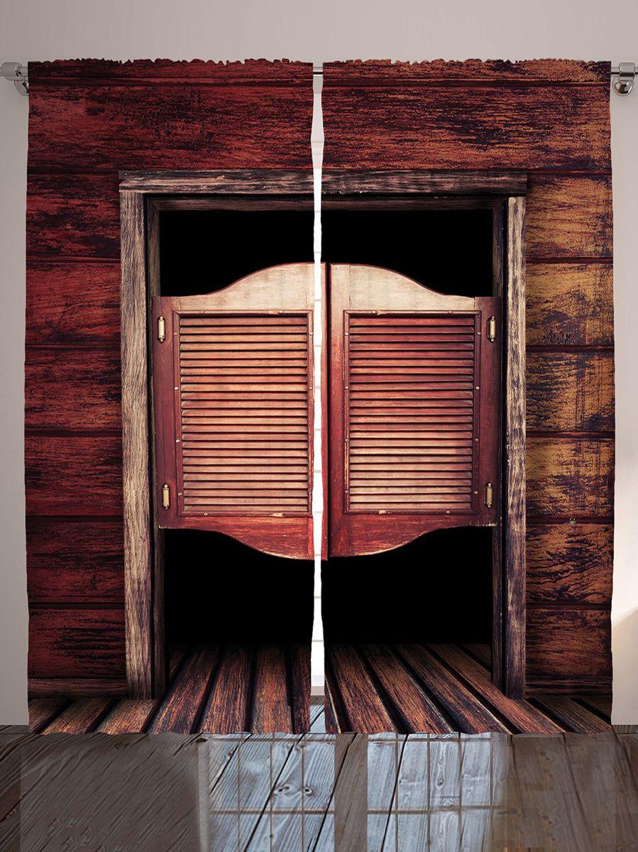 Комплект фотоштор Magic Lady Двери салуна, на ленте, высота 265 см. шсг_10243IRK-503Роскошный комплект фотоштор Magic Lady Двери салуна, выполненный из высококачественного сатена (полиэстер 100%), великолепно украсит любое окно. При изготовлении используются специальные гипоаллергенные чернила. Комплект состоит из двух фотоштор и декорирован изящным рисунком. Оригинальный дизайн и цветовая гамма привлекут к себе внимание и органично впишутся в интерьер комнаты. Крепление на карниз при помощи шторной ленты на крючки.