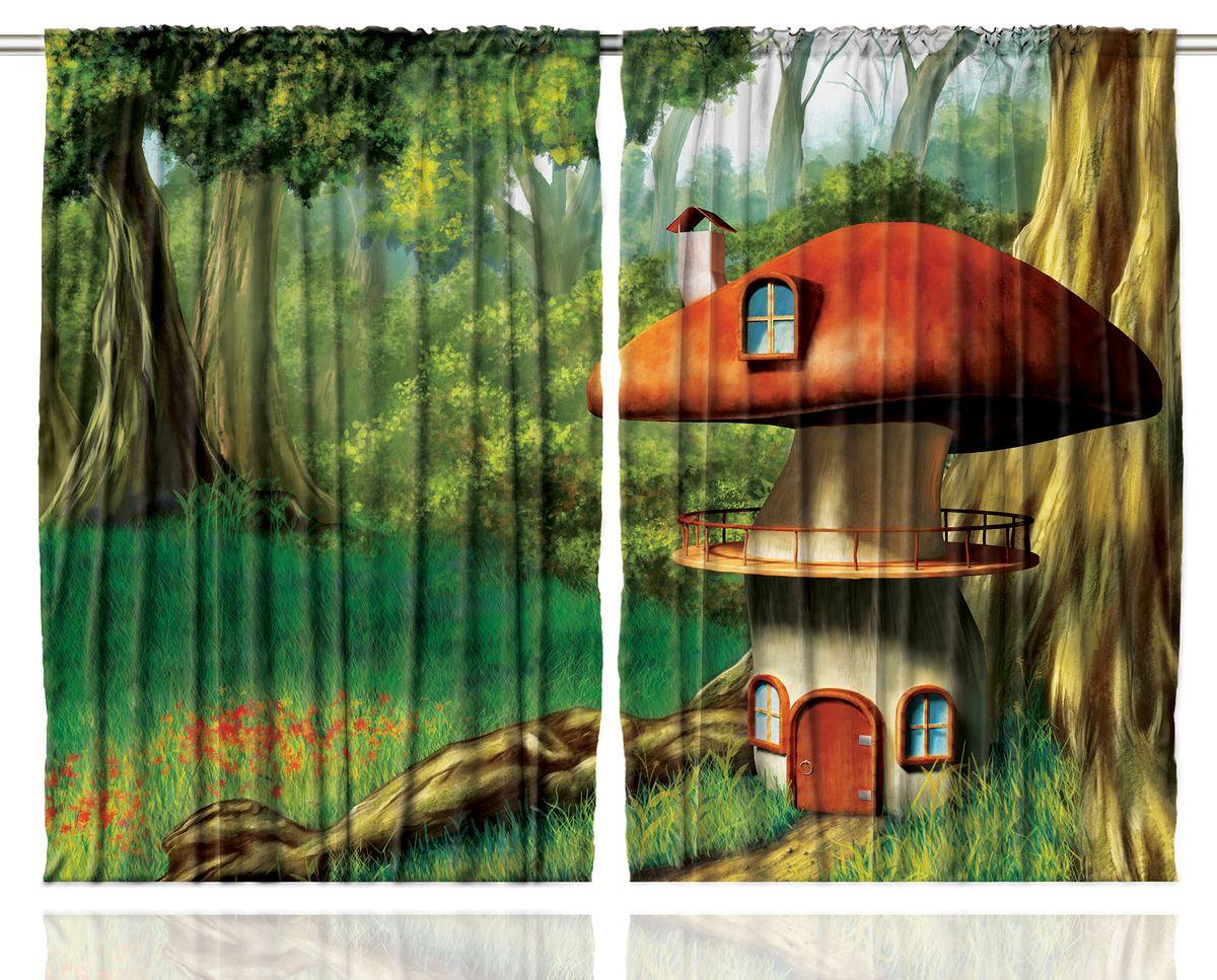 Комплект фотоштор Magic Lady Домик-гриб у ствола большого дерева, на ленте, высота 265 см. шсг_121421272Компания Сэмболь изготавливает шторы из высококачественного сатена (полиэстер 100%). При изготовлении используются специальные гипоаллергенные чернила для прямой печати по ткани, безопасные для человека и животных. Экологичность продукции Magic lady и безопасность для окружающей среды подтверждены сертификатом Oeko-Tex Standard 100. Крепление: крючки для крепления на шторной ленте (50 шт). Возможно крепление на трубу. Внимание! При нанесении сублимационной печати на ткань технологическим методом при температуре 240°С, возможно отклонение полученных размеров (указанных на этикетке и сайте) от стандартных на + - 3-5 см. Производитель старается максимально точно передать цвета изделия на фотографиях, однако искажения неизбежны и фактический цвет изделия может отличаться от воспринимаемого по фото. Обратите внимание! Шторы изготовлены из полиэстра сатенового переплетения, а не из сатина (хлопок). Размер одного полотна шторы: 145х265 см. В комплекте 2 полотна шторы и 50 крючков.