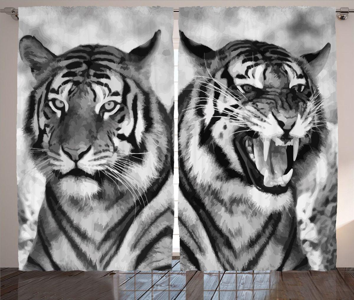 Комплект фотоштор Magic Lady Черно-белые тигры, на ленте, высота 265 см. шсг_12727шсг_3759Компания Сэмболь изготавливает шторы из высококачественного сатена (полиэстер 100%). При изготовлении используются специальные гипоаллергенные чернила для прямой печати по ткани, безопасные для человека и животных. Экологичность продукции Magic lady и безопасность для окружающей среды подтверждены сертификатом Oeko-Tex Standard 100. Крепление: крючки для крепления на шторной ленте (50 шт). Возможно крепление на трубу. Внимание! При нанесении сублимационной печати на ткань технологическим методом при температуре 240°С, возможно отклонение полученных размеров (указанных на этикетке и сайте) от стандартных на + - 3-5 см. Производитель старается максимально точно передать цвета изделия на фотографиях, однако искажения неизбежны и фактический цвет изделия может отличаться от воспринимаемого по фото. Обратите внимание! Шторы изготовлены из полиэстра сатенового переплетения, а не из сатина (хлопок). Размер одного полотна шторы: 145х265 см. В комплекте 2 полотна шторы и 50 крючков.