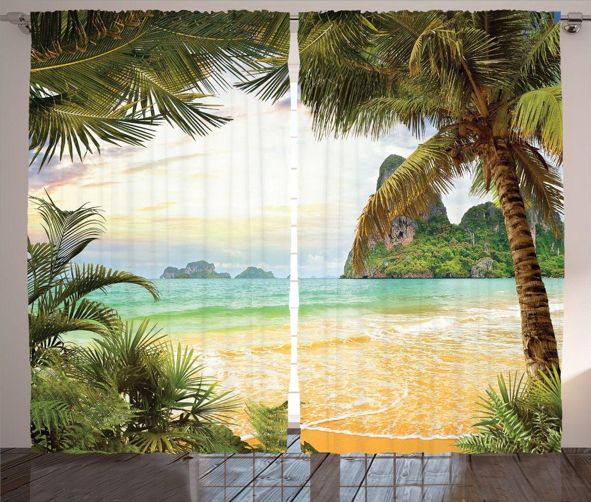 Комплект фотоштор Magic Lady Мягкие краски заката, на ленте, высота 265 см. шсг_13797VCA-00Роскошный комплект фотоштор Magic Lady Мягкие краски заката, выполненный из высококачественного сатена (полиэстер 100%), великолепно украсит любое окно. При изготовлении используются специальные гипоаллергенные чернила. Комплект состоит из двух фотоштор и декорирован изящным рисунком. Оригинальный дизайн и цветовая гамма привлекут к себе внимание и органично впишутся в интерьер комнаты. Крепление на карниз при помощи шторной ленты на крючки.