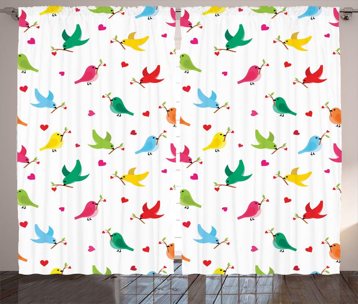 Комплект фотоштор Magic Lady Разноцветные птички, на ленте, высота 265 см. шсг_14285
