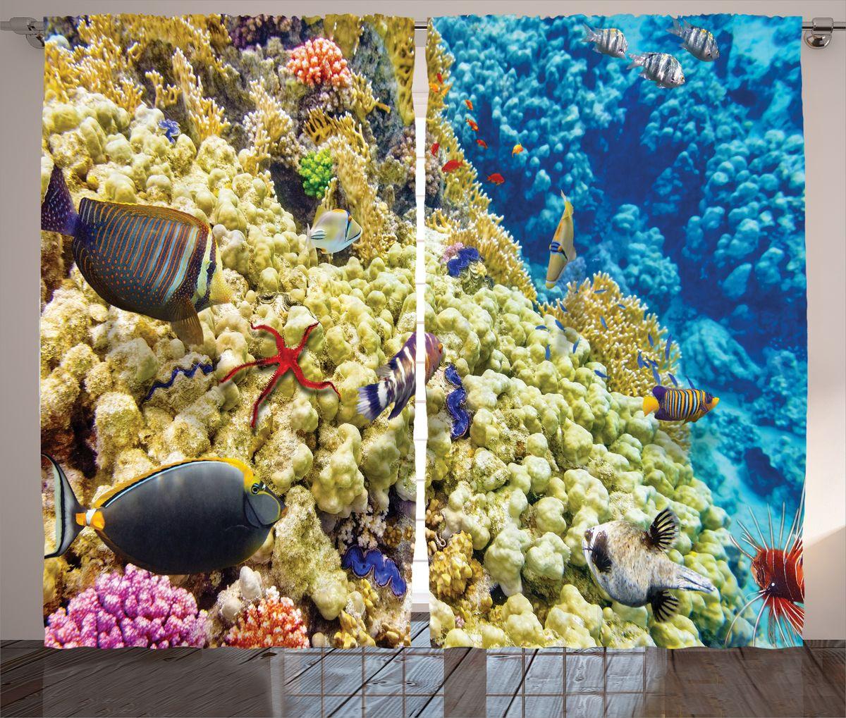 Комплект фотоштор Magic Lady Рыбы и кораллы, на ленте, высота 265 см. шсг_14606шсг_8341Компания Сэмболь изготавливает шторы из высококачественного сатена (полиэстер 100%). При изготовлении используются специальные гипоаллергенные чернила для прямой печати по ткани, безопасные для человека и животных. Экологичность продукции Magic lady и безопасность для окружающей среды подтверждены сертификатом Oeko-Tex Standard 100. Крепление: крючки для крепления на шторной ленте (50 шт). Возможно крепление на трубу. Внимание! При нанесении сублимационной печати на ткань технологическим методом при температуре 240°С, возможно отклонение полученных размеров (указанных на этикетке и сайте) от стандартных на + - 3-5 см. Производитель старается максимально точно передать цвета изделия на фотографиях, однако искажения неизбежны и фактический цвет изделия может отличаться от воспринимаемого по фото. Обратите внимание! Шторы изготовлены из полиэстра сатенового переплетения, а не из сатина (хлопок). Размер одного полотна шторы: 145х265 см. В комплекте 2 полотна шторы и 50 крючков.