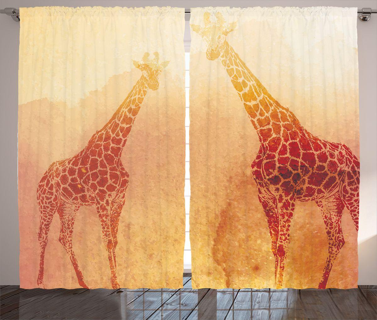 Комплект фотоштор Magic Lady Два жирафа, на ленте, высота 265 см. шсг_1468921307Компания Сэмболь изготавливает шторы из высококачественного сатена (полиэстер 100%). При изготовлении используются специальные гипоаллергенные чернила для прямой печати по ткани, безопасные для человека и животных. Экологичность продукции Magic lady и безопасность для окружающей среды подтверждены сертификатом Oeko-Tex Standard 100. Крепление: крючки для крепления на шторной ленте (50 шт). Возможно крепление на трубу. Внимание! При нанесении сублимационной печати на ткань технологическим методом при температуре 240°С, возможно отклонение полученных размеров (указанных на этикетке и сайте) от стандартных на + - 3-5 см. Производитель старается максимально точно передать цвета изделия на фотографиях, однако искажения неизбежны и фактический цвет изделия может отличаться от воспринимаемого по фото. Обратите внимание! Шторы изготовлены из полиэстра сатенового переплетения, а не из сатина (хлопок). Размер одного полотна шторы: 145х265 см. В комплекте 2 полотна шторы и 50 крючков.