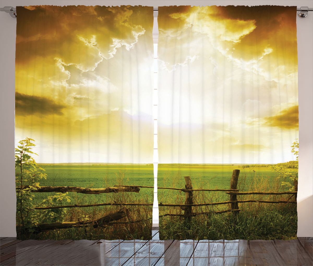 Комплект фотоштор Magic Lady Бежевые облака над полем, на ленте, высота 265 см. шсг_148901891135Компания Сэмболь изготавливает шторы из высококачественного сатена (полиэстер 100%). При изготовлении используются специальные гипоаллергенные чернила для прямой печати по ткани, безопасные для человека и животных. Экологичность продукции Magic lady и безопасность для окружающей среды подтверждены сертификатом Oeko-Tex Standard 100. Крепление: крючки для крепления на шторной ленте (50 шт). Возможно крепление на трубу. Внимание! При нанесении сублимационной печати на ткань технологическим методом при температуре 240°С, возможно отклонение полученных размеров (указанных на этикетке и сайте) от стандартных на + - 3-5 см. Производитель старается максимально точно передать цвета изделия на фотографиях, однако искажения неизбежны и фактический цвет изделия может отличаться от воспринимаемого по фото. Обратите внимание! Шторы изготовлены из полиэстра сатенового переплетения, а не из сатина (хлопок). Размер одного полотна шторы: 145х265 см. В комплекте 2 полотна шторы и 50 крючков.