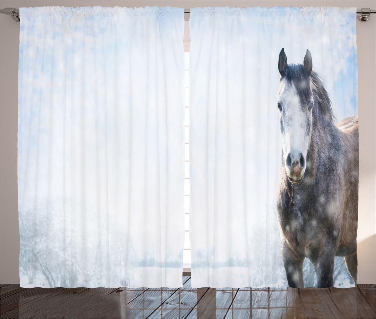 Комплект фотоштор Magic Lady Лошадь на заснеженном лугу, на ленте, высота 265 см. шсг_1489721272Компания Сэмболь изготавливает шторы из высококачественного сатена (полиэстер 100%). При изготовлении используются специальные гипоаллергенные чернила для прямой печати по ткани, безопасные для человека и животных. Экологичность продукции Magic lady и безопасность для окружающей среды подтверждены сертификатом Oeko-Tex Standard 100. Крепление: крючки для крепления на шторной ленте (50 шт). Возможно крепление на трубу. Внимание! При нанесении сублимационной печати на ткань технологическим методом при температуре 240°С, возможно отклонение полученных размеров (указанных на этикетке и сайте) от стандартных на + - 3-5 см. Производитель старается максимально точно передать цвета изделия на фотографиях, однако искажения неизбежны и фактический цвет изделия может отличаться от воспринимаемого по фото. Обратите внимание! Шторы изготовлены из полиэстра сатенового переплетения, а не из сатина (хлопок). Размер одного полотна шторы: 145х265 см. В комплекте 2 полотна шторы и 50 крючков.