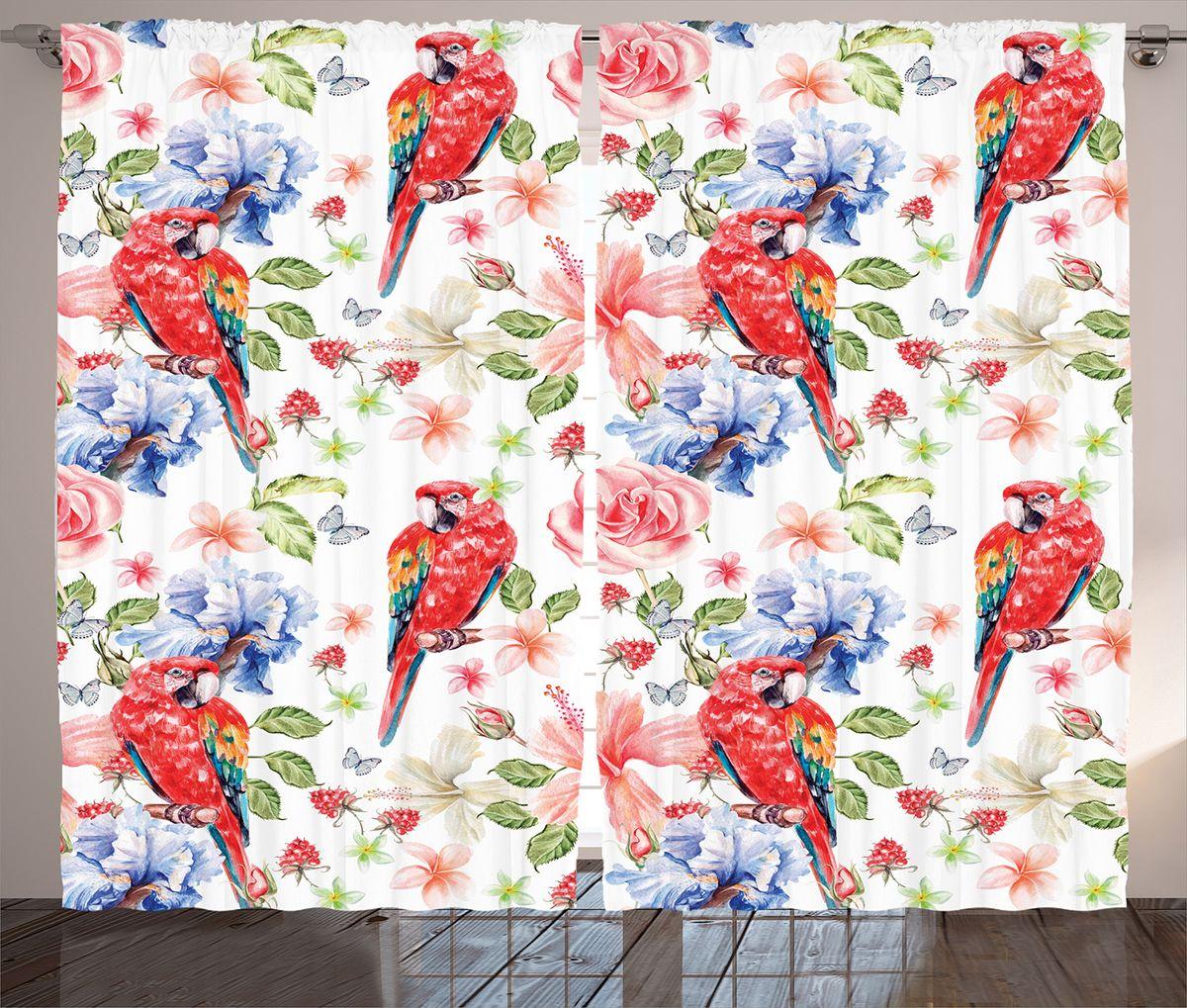 Комплект фотоштор Magic Lady Красные попугаи, цветы и ягоды, на ленте, высота 265 см. шсг_14973шсг_8971Компания Сэмболь изготавливает шторы из высококачественного сатена (полиэстер 100%). При изготовлении используются специальные гипоаллергенные чернила для прямой печати по ткани, безопасные для человека и животных. Экологичность продукции Magic lady и безопасность для окружающей среды подтверждены сертификатом Oeko-Tex Standard 100. Крепление: крючки для крепления на шторной ленте (50 шт). Возможно крепление на трубу. Внимание! При нанесении сублимационной печати на ткань технологическим методом при температуре 240°С, возможно отклонение полученных размеров (указанных на этикетке и сайте) от стандартных на + - 3-5 см. Производитель старается максимально точно передать цвета изделия на фотографиях, однако искажения неизбежны и фактический цвет изделия может отличаться от воспринимаемого по фото. Обратите внимание! Шторы изготовлены из полиэстра сатенового переплетения, а не из сатина (хлопок). Размер одного полотна шторы: 145х265 см. В комплекте 2 полотна шторы и 50 крючков.