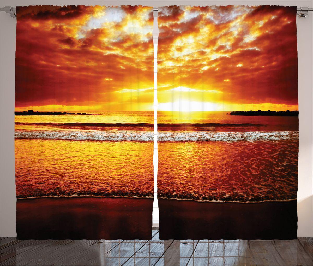 Комплект фотоштор Magic Lady Пламенеющий закат над морем, на ленте, высота 265 см. шсг_15024шсг_2673Компания Сэмболь изготавливает шторы из высококачественного сатена (полиэстер 100%). При изготовлении используются специальные гипоаллергенные чернила для прямой печати по ткани, безопасные для человека и животных. Экологичность продукции Magic lady и безопасность для окружающей среды подтверждены сертификатом Oeko-Tex Standard 100. Крепление: крючки для крепления на шторной ленте (50 шт). Возможно крепление на трубу. Внимание! При нанесении сублимационной печати на ткань технологическим методом при температуре 240°С, возможно отклонение полученных размеров (указанных на этикетке и сайте) от стандартных на + - 3-5 см. Производитель старается максимально точно передать цвета изделия на фотографиях, однако искажения неизбежны и фактический цвет изделия может отличаться от воспринимаемого по фото. Обратите внимание! Шторы изготовлены из полиэстра сатенового переплетения, а не из сатина (хлопок). Размер одного полотна шторы: 145х265 см. В комплекте 2 полотна шторы и 50 крючков.