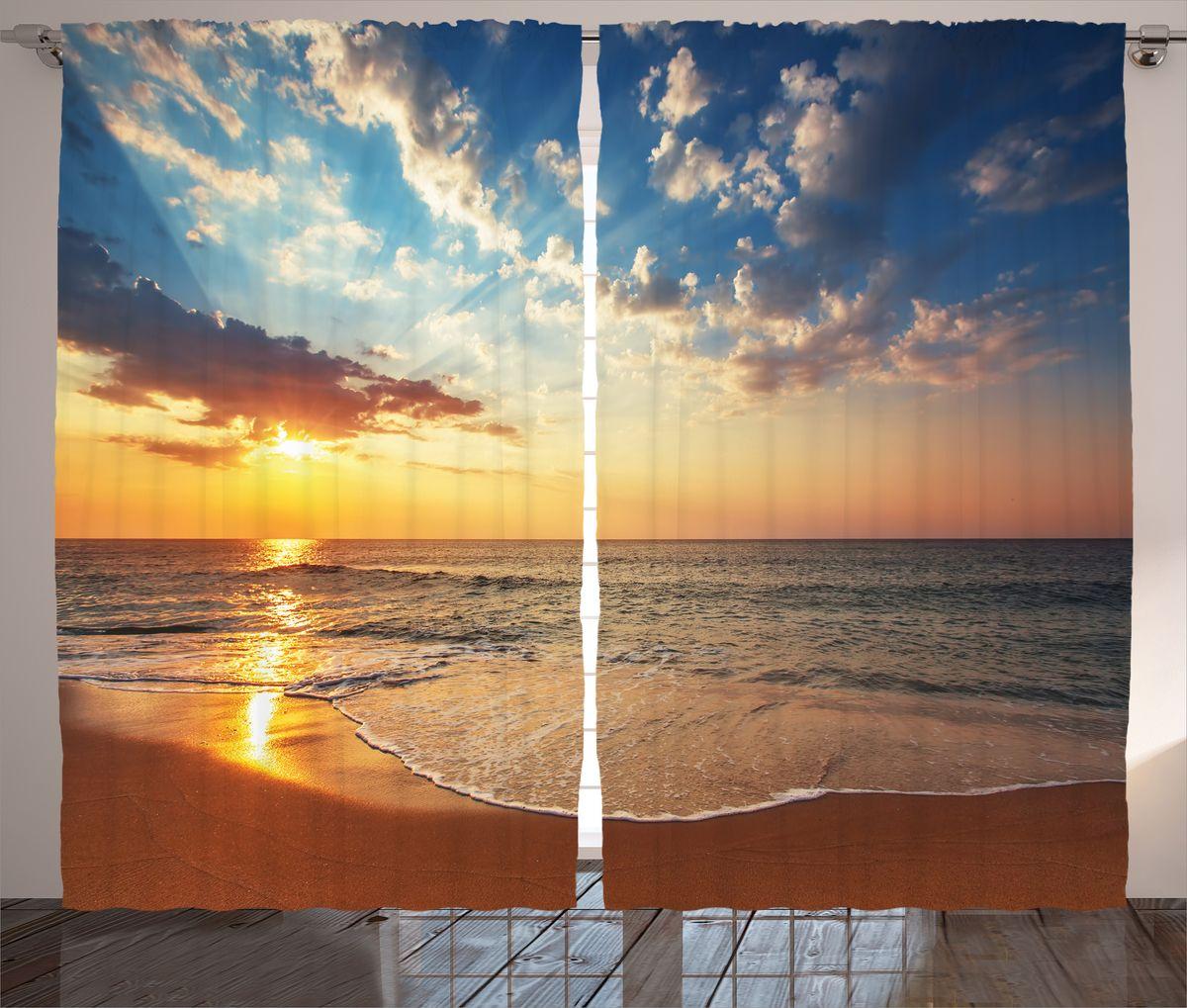 Комплект фотоштор Magic Lady Оранжевый пляж, на ленте, высота 265 см. шсг_15030F0150739RAКомпания Сэмболь изготавливает шторы из высококачественного сатена (полиэстер 100%). При изготовлении используются специальные гипоаллергенные чернила для прямой печати по ткани, безопасные для человека и животных. Экологичность продукции Magic lady и безопасность для окружающей среды подтверждены сертификатом Oeko-Tex Standard 100. Крепление: крючки для крепления на шторной ленте (50 шт). Возможно крепление на трубу. Внимание! При нанесении сублимационной печати на ткань технологическим методом при температуре 240°С, возможно отклонение полученных размеров (указанных на этикетке и сайте) от стандартных на + - 3-5 см. Производитель старается максимально точно передать цвета изделия на фотографиях, однако искажения неизбежны и фактический цвет изделия может отличаться от воспринимаемого по фото. Обратите внимание! Шторы изготовлены из полиэстра сатенового переплетения, а не из сатина (хлопок). Размер одного полотна шторы: 145х265 см. В комплекте 2 полотна шторы и 50 крючков.