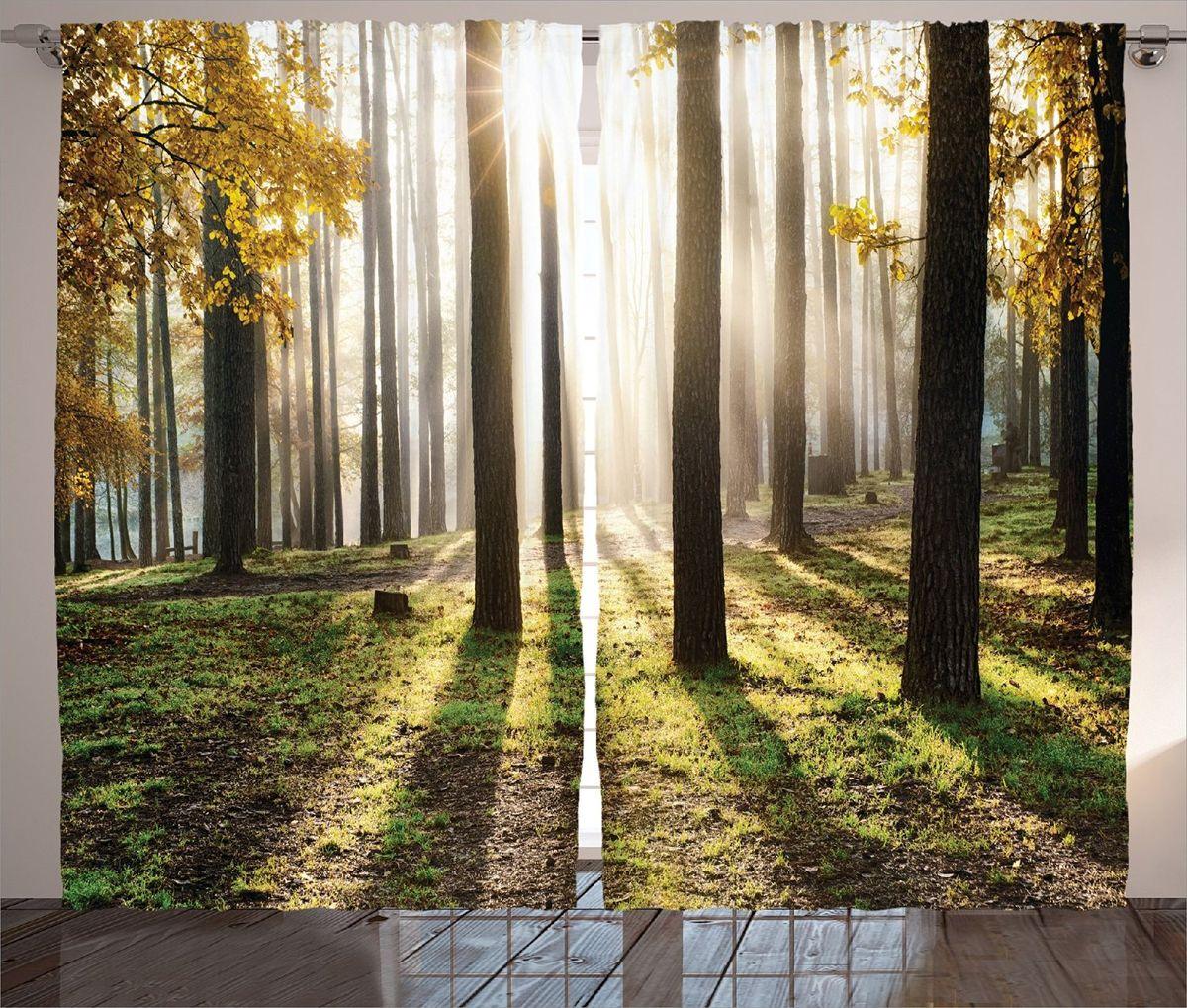 Комплект фотоштор Magic Lady Солнце в осеннем лесу, на ленте, высота 265 см. шсг_15217IRK-503Роскошный комплект фотоштор Magic Lady Солнце в осеннем лесу, выполненный из высококачественного сатена (полиэстер 100%), великолепно украсит любое окно. При изготовлении используются специальные гипоаллергенные чернила. Комплект состоит из двух фотоштор и декорирован изящным рисунком. Оригинальный дизайн и цветовая гамма привлекут к себе внимание и органично впишутся в интерьер комнаты. Крепление на карниз при помощи шторной ленты на крючки.