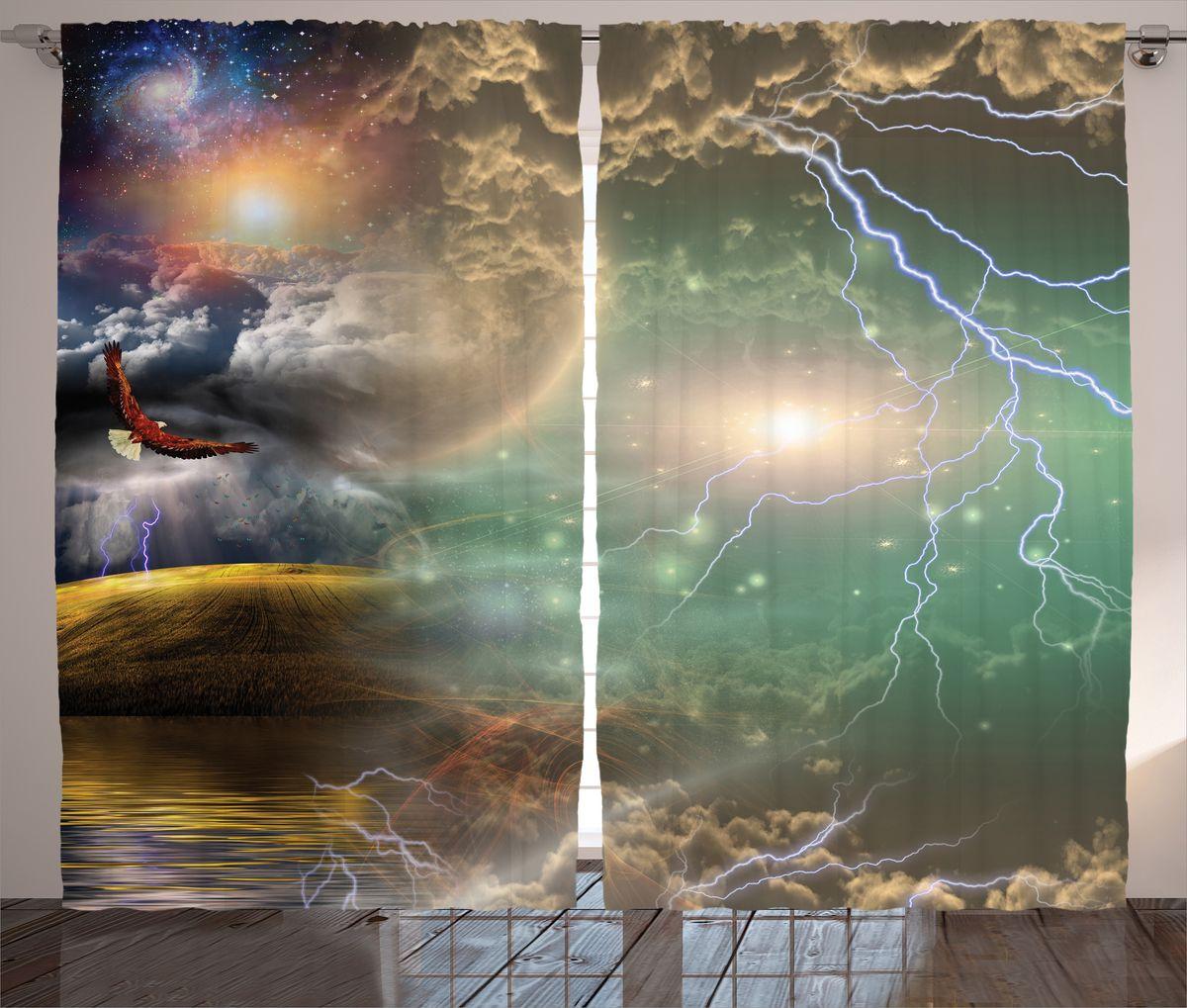 Комплект фотоштор Magic Lady Орел и молнии, на ленте, высота 265 см. шсг_15820шсг_15312Компания Сэмболь изготавливает шторы из высококачественного сатена (полиэстер 100%). При изготовлении используются специальные гипоаллергенные чернила для прямой печати по ткани, безопасные для человека и животных. Экологичность продукции Magic lady и безопасность для окружающей среды подтверждены сертификатом Oeko-Tex Standard 100. Крепление: крючки для крепления на шторной ленте (50 шт). Возможно крепление на трубу. Внимание! При нанесении сублимационной печати на ткань технологическим методом при температуре 240°С, возможно отклонение полученных размеров (указанных на этикетке и сайте) от стандартных на + - 3-5 см. Производитель старается максимально точно передать цвета изделия на фотографиях, однако искажения неизбежны и фактический цвет изделия может отличаться от воспринимаемого по фото. Обратите внимание! Шторы изготовлены из полиэстра сатенового переплетения, а не из сатина (хлопок). Размер одного полотна шторы: 145х265 см. В комплекте 2 полотна шторы и 50 крючков.