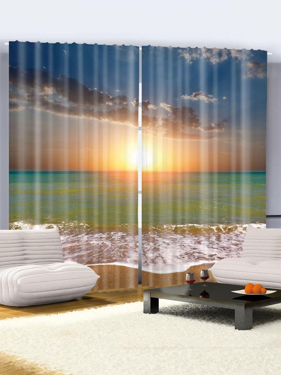 Комплект фотоштор Magic Lady Августовское море, на ленте, высота 265 см. шсг_1711шсг_1711Роскошный комплект фотоштор Magic Lady, выполненный из высококачественного сатена (полиэстер 100%), великолепно украсит любое окно. При изготовлении используются специальные гипоаллергенные чернила. Комплект состоит из двух фотоштор и декорирован изящным рисунком. Оригинальный дизайн и цветовая гамма привлекут к себе внимание и органично впишутся в интерьер комнаты. Крепление на карниз при помощи шторной ленты на крючки.