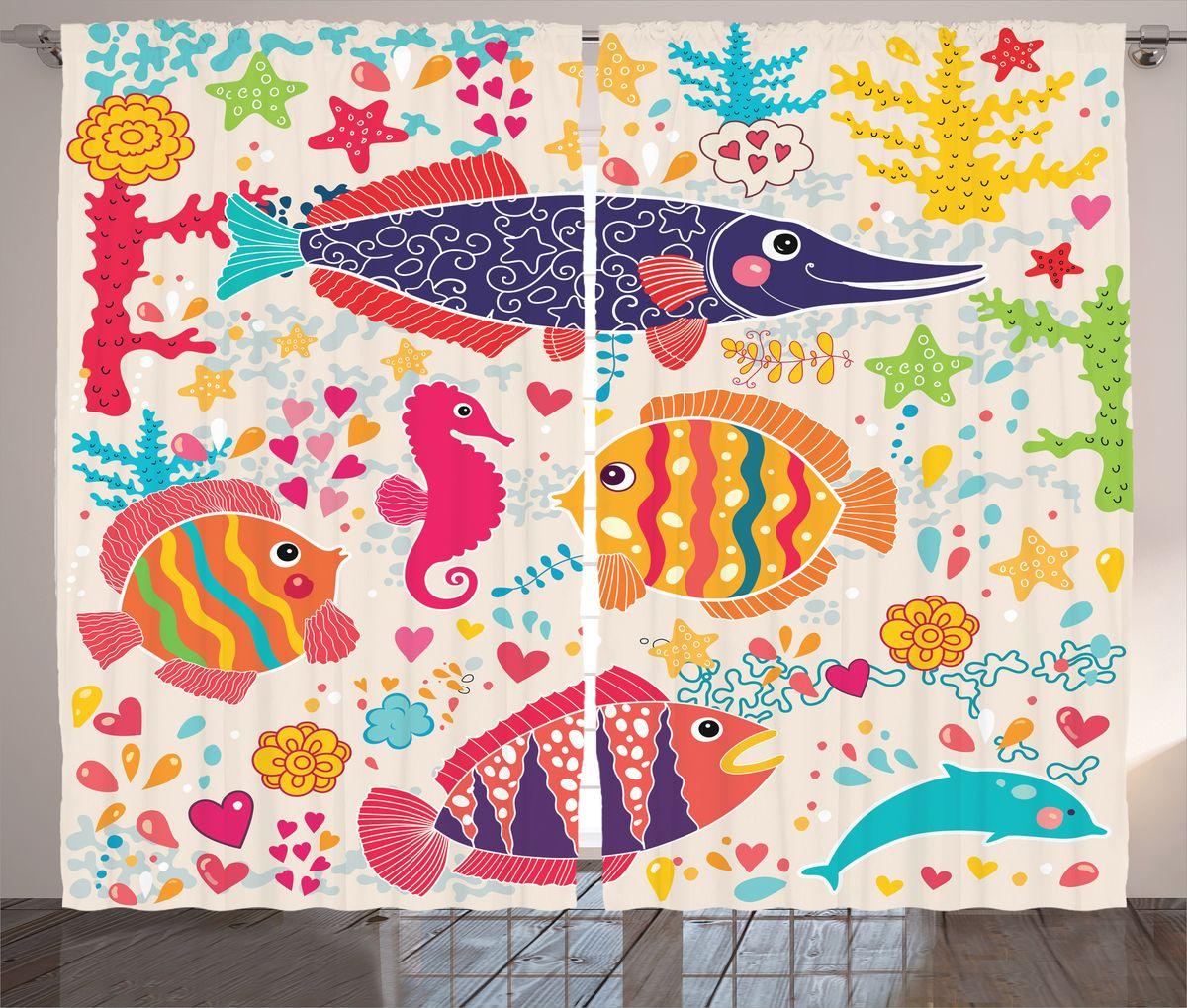 Комплект фотоштор Magic Lady Влюбленные рыбки, на ленте, высота 265 см. шсг_17279шсг_16336Компания Сэмболь изготавливает шторы из высококачественного сатена (полиэстер 100%). При изготовлении используются специальные гипоаллергенные чернила для прямой печати по ткани, безопасные для человека и животных. Экологичность продукции Magic lady и безопасность для окружающей среды подтверждены сертификатом Oeko-Tex Standard 100. Крепление: крючки для крепления на шторной ленте (50 шт). Возможно крепление на трубу. Внимание! При нанесении сублимационной печати на ткань технологическим методом при температуре 240°С, возможно отклонение полученных размеров (указанных на этикетке и сайте) от стандартных на + - 3-5 см. Производитель старается максимально точно передать цвета изделия на фотографиях, однако искажения неизбежны и фактический цвет изделия может отличаться от воспринимаемого по фото. Обратите внимание! Шторы изготовлены из полиэстра сатенового переплетения, а не из сатина (хлопок). Размер одного полотна шторы: 145х265 см. В комплекте 2 полотна шторы и 50 крючков.