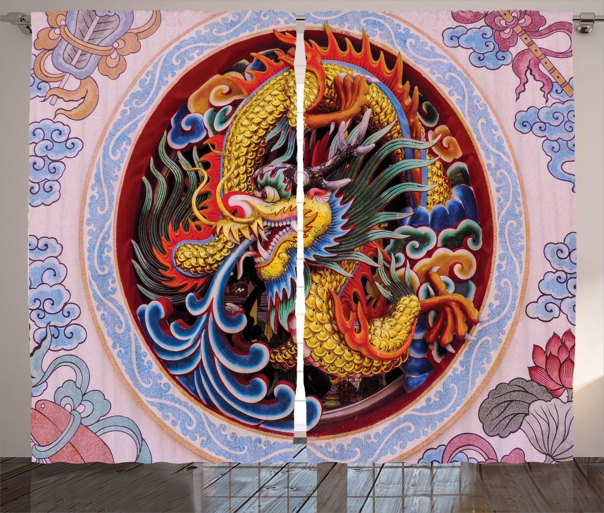 Комплект фотоштор Magic Lady Китайский дракон, на ленте, высота 265 см. шсг_1790721324Компания Сэмболь изготавливает шторы из высококачественного сатена (полиэстер 100%). При изготовлении используются специальные гипоаллергенные чернила для прямой печати по ткани, безопасные для человека и животных. Экологичность продукции Magic lady и безопасность для окружающей среды подтверждены сертификатом Oeko-Tex Standard 100. Крепление: крючки для крепления на шторной ленте (50 шт). Возможно крепление на трубу. Внимание! При нанесении сублимационной печати на ткань технологическим методом при температуре 240°С, возможно отклонение полученных размеров (указанных на этикетке и сайте) от стандартных на + - 3-5 см. Производитель старается максимально точно передать цвета изделия на фотографиях, однако искажения неизбежны и фактический цвет изделия может отличаться от воспринимаемого по фото. Обратите внимание! Шторы изготовлены из полиэстра сатенового переплетения, а не из сатина (хлопок). Размер одного полотна шторы: 145х265 см. В комплекте 2 полотна шторы и 50 крючков.