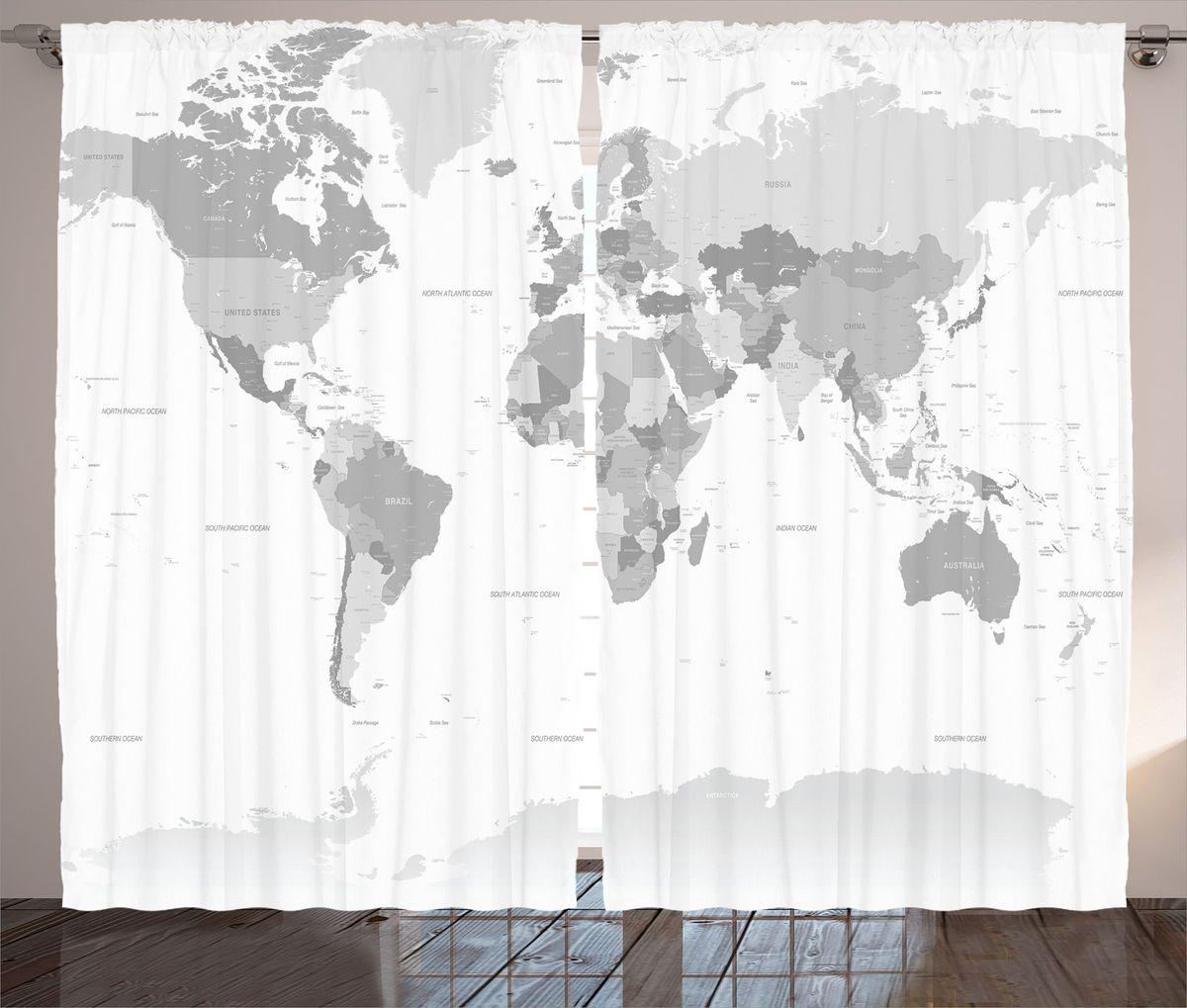 Комплект фотоштор Magic Lady Политическая карта мира, на ленте, высота 265 см. шсг_18025шсг_15601Компания Сэмболь изготавливает шторы из высококачественного сатена (полиэстер 100%). При изготовлении используются специальные гипоаллергенные чернила для прямой печати по ткани, безопасные для человека и животных. Экологичность продукции Magic lady и безопасность для окружающей среды подтверждены сертификатом Oeko-Tex Standard 100. Крепление: крючки для крепления на шторной ленте (50 шт). Возможно крепление на трубу. Внимание! При нанесении сублимационной печати на ткань технологическим методом при температуре 240°С, возможно отклонение полученных размеров (указанных на этикетке и сайте) от стандартных на + - 3-5 см. Производитель старается максимально точно передать цвета изделия на фотографиях, однако искажения неизбежны и фактический цвет изделия может отличаться от воспринимаемого по фото. Обратите внимание! Шторы изготовлены из полиэстра сатенового переплетения, а не из сатина (хлопок). Размер одного полотна шторы: 145х265 см. В комплекте 2 полотна шторы и 50 крючков.