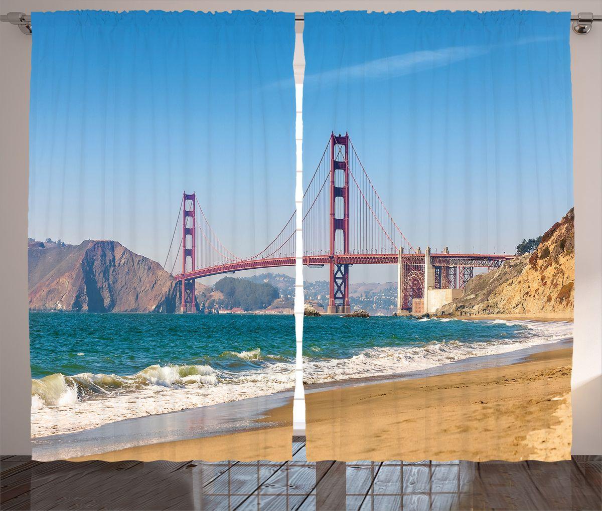 Комплект фотоштор Magic Lady Вид на Золотые Ворота Сан-Франциско, на ленте, высота 265 см. шсг_18071шсг_16215Компания Сэмболь изготавливает шторы из высококачественного сатена (полиэстер 100%). При изготовлении используются специальные гипоаллергенные чернила для прямой печати по ткани, безопасные для человека и животных. Экологичность продукции Magic lady и безопасность для окружающей среды подтверждены сертификатом Oeko-Tex Standard 100. Крепление: крючки для крепления на шторной ленте (50 шт). Возможно крепление на трубу. Внимание! При нанесении сублимационной печати на ткань технологическим методом при температуре 240°С, возможно отклонение полученных размеров (указанных на этикетке и сайте) от стандартных на + - 3-5 см. Производитель старается максимально точно передать цвета изделия на фотографиях, однако искажения неизбежны и фактический цвет изделия может отличаться от воспринимаемого по фото. Обратите внимание! Шторы изготовлены из полиэстра сатенового переплетения, а не из сатина (хлопок). Размер одного полотна шторы: 145х265 см. В комплекте 2 полотна шторы и 50 крючков.