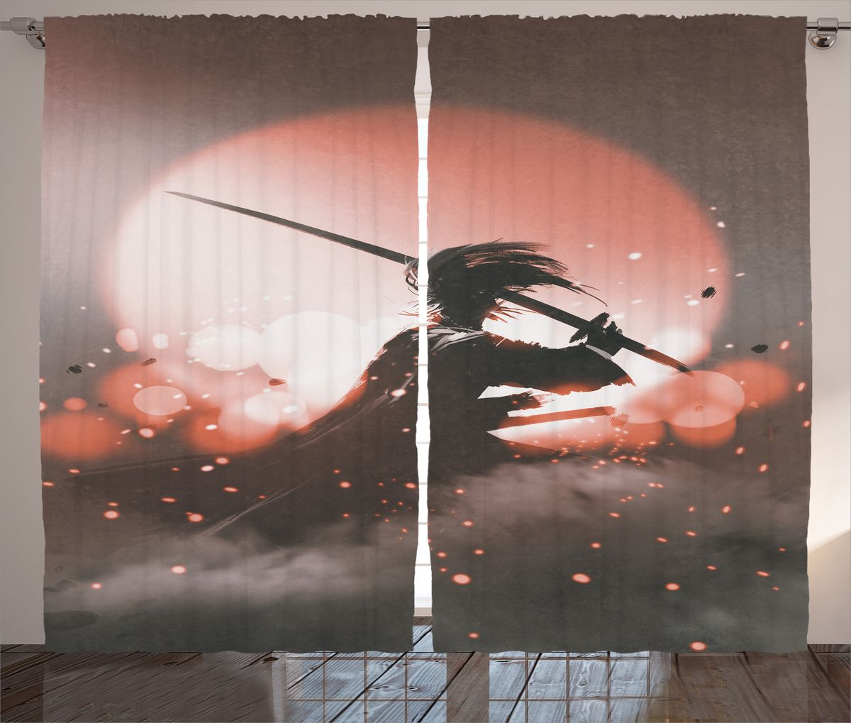 Комплект фотоштор Magic Lady Самурай на фоне заката, на ленте, высота 265 см. шсг_18287шсг_14720Компания Сэмболь изготавливает шторы из высококачественного сатена (полиэстер 100%). При изготовлении используются специальные гипоаллергенные чернила для прямой печати по ткани, безопасные для человека и животных. Экологичность продукции Magic lady и безопасность для окружающей среды подтверждены сертификатом Oeko-Tex Standard 100. Крепление: крючки для крепления на шторной ленте (50 шт). Возможно крепление на трубу. Внимание! При нанесении сублимационной печати на ткань технологическим методом при температуре 240°С, возможно отклонение полученных размеров (указанных на этикетке и сайте) от стандартных на + - 3-5 см. Производитель старается максимально точно передать цвета изделия на фотографиях, однако искажения неизбежны и фактический цвет изделия может отличаться от воспринимаемого по фото. Обратите внимание! Шторы изготовлены из полиэстра сатенового переплетения, а не из сатина (хлопок). Размер одного полотна шторы: 145х265 см. В комплекте 2 полотна шторы и 50 крючков.