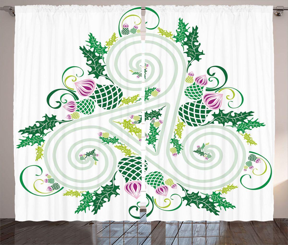 Комплект фотоштор Magic Lady Кельтский узор и чертополох, на ленте, высота 265 см. шсг_18613СД-07598-ФШ-ГБ-001Компания Сэмболь изготавливает шторы из высококачественного сатена (полиэстер 100%). При изготовлении используются специальные гипоаллергенные чернила для прямой печати по ткани, безопасные для человека и животных. Экологичность продукции Magic lady и безопасность для окружающей среды подтверждены сертификатом Oeko-Tex Standard 100. Крепление: крючки для крепления на шторной ленте (50 шт). Возможно крепление на трубу. Внимание! При нанесении сублимационной печати на ткань технологическим методом при температуре 240°С, возможно отклонение полученных размеров (указанных на этикетке и сайте) от стандартных на + - 3-5 см. Производитель старается максимально точно передать цвета изделия на фотографиях, однако искажения неизбежны и фактический цвет изделия может отличаться от воспринимаемого по фото. Обратите внимание! Шторы изготовлены из полиэстра сатенового переплетения, а не из сатина (хлопок). Размер одного полотна шторы: 145х265 см. В комплекте 2 полотна шторы и 50 крючков.