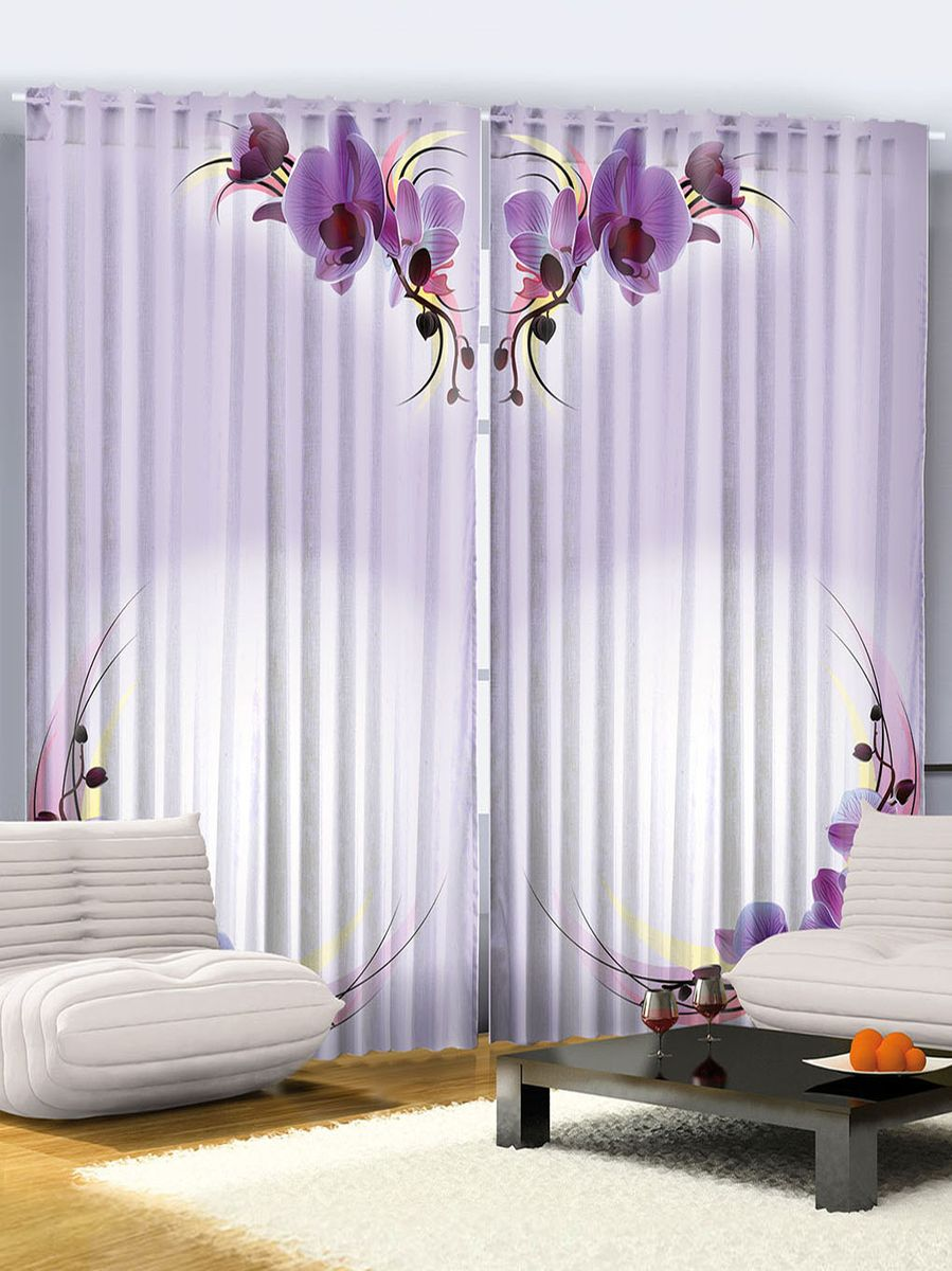 Комплект фотоштор Magic Lady Фиолетовые орхидеи, на ленте, высота 265 см. шсг_250421171Компания Сэмболь изготавливает шторы из высококачественного сатена (полиэстер 100%). При изготовлении используются специальные гипоаллергенные чернила для прямой печати по ткани, безопасные для человека и животных. Экологичность продукции Magic lady и безопасность для окружающей среды подтверждены сертификатом Oeko-Tex Standard 100. Крепление: крючки для крепления на шторной ленте (50 шт). Возможно крепление на трубу. Внимание! При нанесении сублимационной печати на ткань технологическим методом при температуре 240°С, возможно отклонение полученных размеров (указанных на этикетке и сайте) от стандартных на + - 3-5 см. Производитель старается максимально точно передать цвета изделия на фотографиях, однако искажения неизбежны и фактический цвет изделия может отличаться от воспринимаемого по фото. Обратите внимание! Шторы изготовлены из полиэстра сатенового переплетения, а не из сатина (хлопок). Размер одного полотна шторы: 145х265 см. В комплекте 2 полотна шторы и 50 крючков.