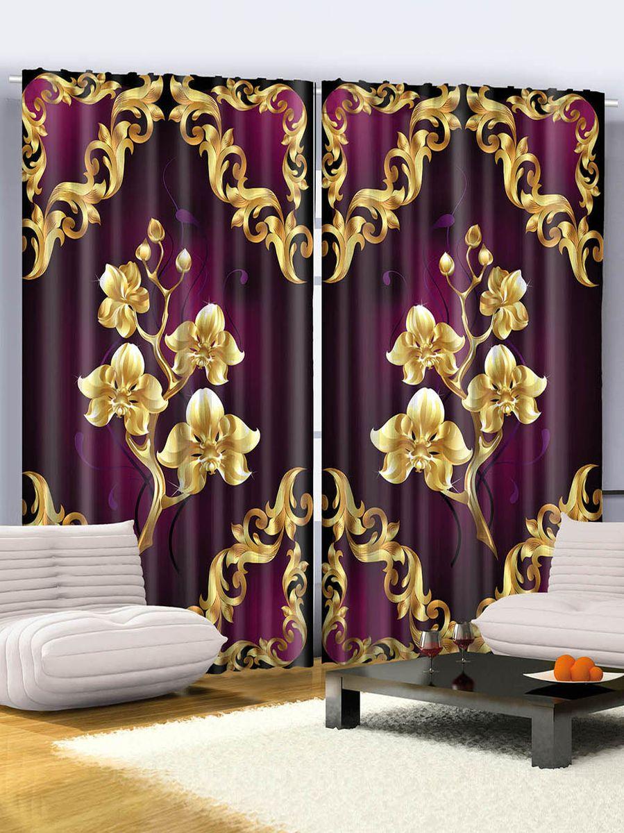 Комплект фотоштор Magic Lady Золотые орхидеи, на ленте, высота 265 см. шсг_267521273Роскошный комплект фотоштор Magic Lady Золотые орхидеи, выполненный из высококачественного сатена (полиэстер 100%), великолепно украсит любое окно. При изготовлении используются специальные гипоаллергенные чернила. Комплект состоит из двух фотоштор и декорирован изящным рисунком. Оригинальный дизайн и цветовая гамма привлекут к себе внимание и органично впишутся в интерьер комнаты. Крепление на карниз при помощи шторной ленты на крючки.