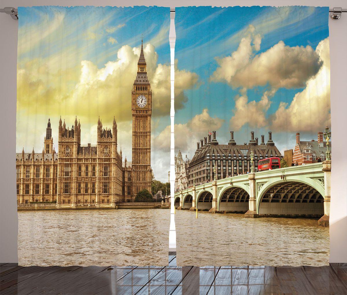 Комплект фотоштор Magic Lady Биг Бен и парламент Англии на фоне облачного неба, на ленте, высота 265 см. шсг_2713VT-1840-BKКомплект фотоштор Magic Lady Биг Бен и парламент Англии на фоне облачного неба выполнен из высококачественного сатена (полиэстер 100%). При изготовлении используются специальные гипоаллергенные чернила. Они отлично дополнят украшение любого интерьера. Крепление на карниз при помощи шторной ленты на крючки.