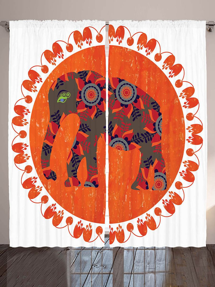 Комплект фотоштор Magic Lady Коричневый слон с листьями и цветами, на ленте, высота 265 см. шсг_8897шсг_1711Компания Сэмболь изготавливает шторы из высококачественного сатена (полиэстер 100%). При изготовлении используются специальные гипоаллергенные чернила для прямой печати по ткани, безопасные для человека и животных. Экологичность продукции Magic lady и безопасность для окружающей среды подтверждены сертификатом Oeko-Tex Standard 100. Крепление: крючки для крепления на шторной ленте (50 шт). Возможно крепление на трубу. Внимание! При нанесении сублимационной печати на ткань технологическим методом при температуре 240°С, возможно отклонение полученных размеров (указанных на этикетке и сайте) от стандартных на + - 3-5 см. Производитель старается максимально точно передать цвета изделия на фотографиях, однако искажения неизбежны и фактический цвет изделия может отличаться от воспринимаемого по фото. Обратите внимание! Шторы изготовлены из полиэстра сатенового переплетения, а не из сатина (хлопок). Размер одного полотна шторы: 145х265 см. В комплекте 2 полотна шторы и 50 крючков.