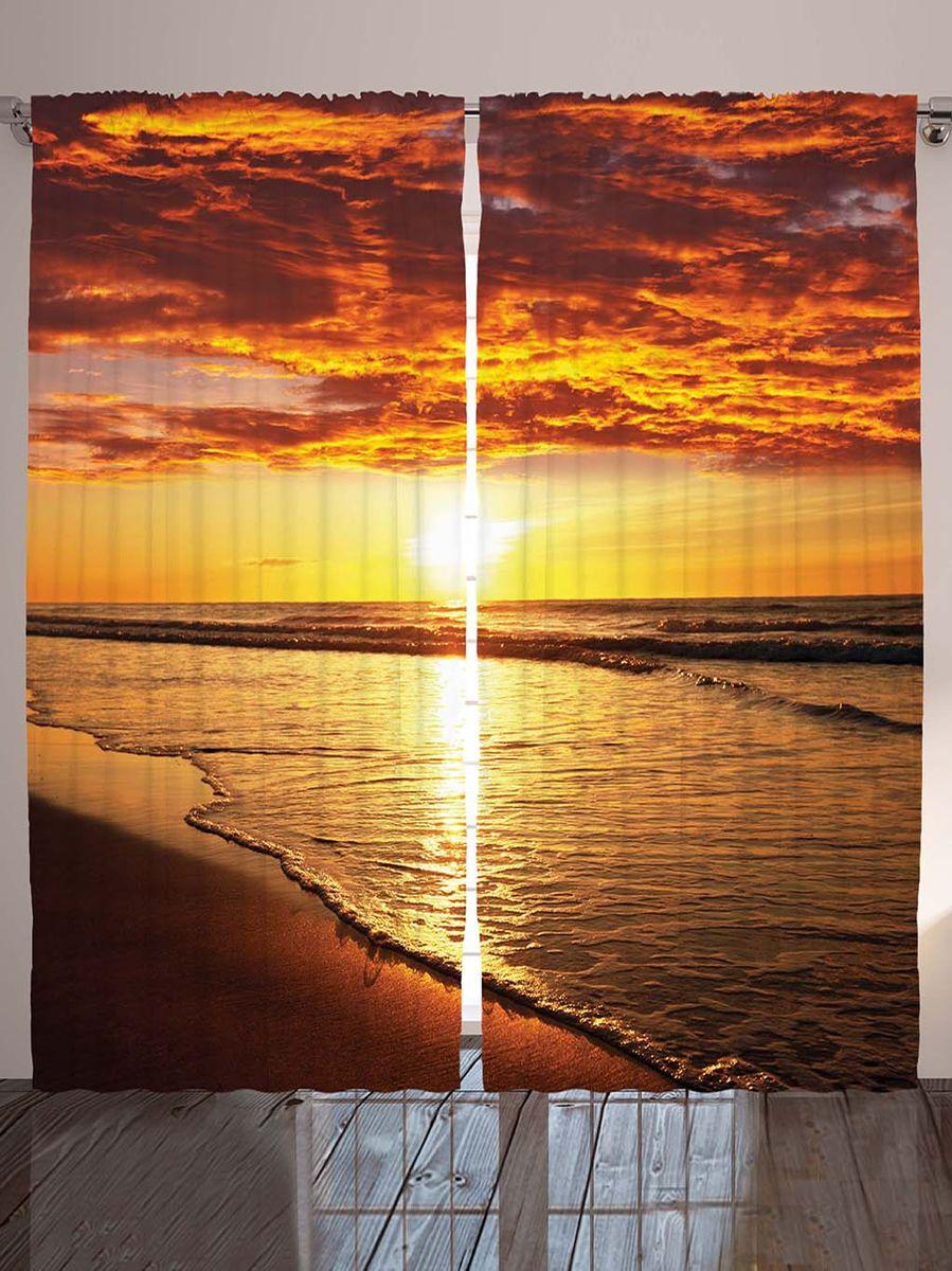 Комплект фотоштор Magic Lady Терракотовый закат, на ленте, высота 265 см. шсг_8937 фотошторы magic lady плотные фотошторы две хамсы 290 265 см