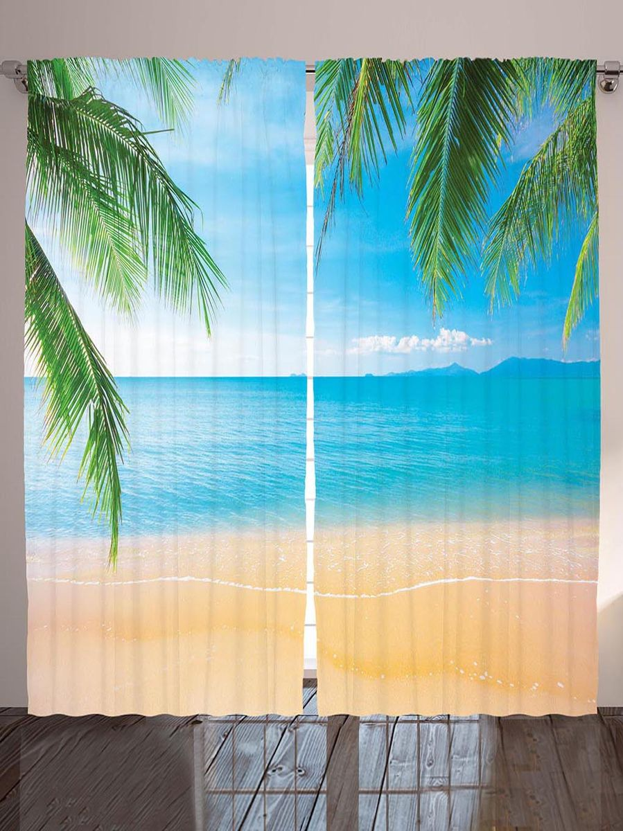 Комплект фотоштор Magic Lady Пальмовые листья над берегом, на ленте, высота 265 см. шсг_896321295Компания Сэмболь изготавливает шторы из высококачественного сатена (полиэстер 100%). При изготовлении используются специальные гипоаллергенные чернила для прямой печати по ткани, безопасные для человека и животных. Экологичность продукции Magic lady и безопасность для окружающей среды подтверждены сертификатом Oeko-Tex Standard 100. Крепление: крючки для крепления на шторной ленте (50 шт). Возможно крепление на трубу. Внимание! При нанесении сублимационной печати на ткань технологическим методом при температуре 240°С, возможно отклонение полученных размеров (указанных на этикетке и сайте) от стандартных на + - 3-5 см. Производитель старается максимально точно передать цвета изделия на фотографиях, однако искажения неизбежны и фактический цвет изделия может отличаться от воспринимаемого по фото. Обратите внимание! Шторы изготовлены из полиэстра сатенового переплетения, а не из сатина (хлопок). Размер одного полотна шторы: 145х265 см. В комплекте 2 полотна шторы и 50 крючков.