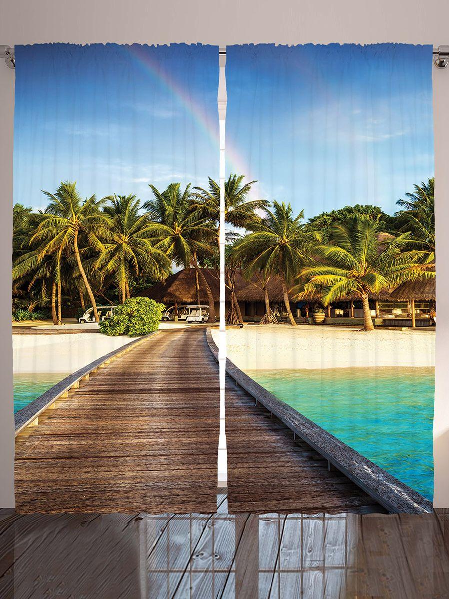 Комплект фотоштор Magic Lady Бунгало на пляже, на ленте, высота 265 см. шсг_9148