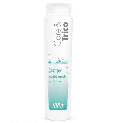Shot Care and Trico Fresh Ice Shampoo - Шампунь для кожи головы и волос 250 млFS-00897Шампунь FRESH ICE с охлаждающим эффектом. Идеально подходит для частого мытья волос. Мгновенно придаёт ощущение комфорта, свежести кожи головы и блеск волосам. Идеален для частого применения