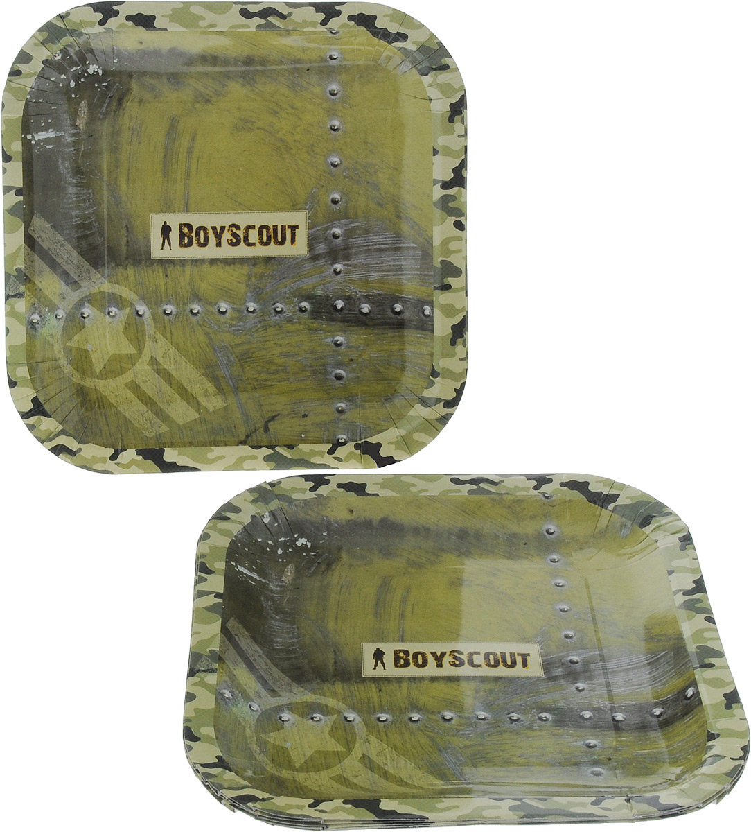 Набор одноразовых тарелок Boyscout, 23 х 23 см, 6 штVT-1520(SR)Набор Boyscout состоит из 6 квадратных тарелок с рисунком под камуфляж, выполненных из картона с защитным покрытием. Тарелки отлично подходят для холодных и горячих продуктов. Одноразовая посуда незаменима в поездках на природу и на пикниках. Она не займет много места, легка и самое главное - после использования ее не надо мыть.