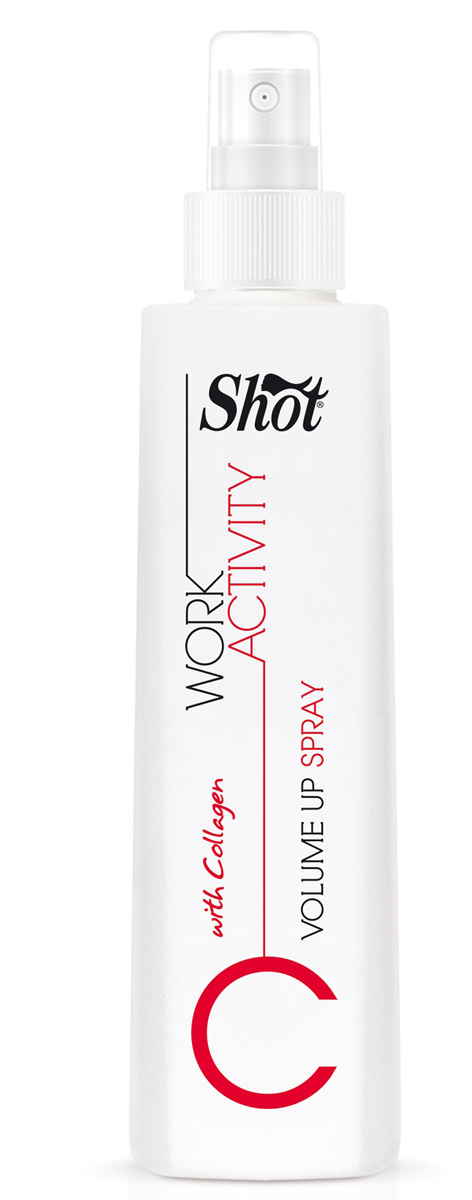 Shot Спрей для придания объема Work Activity Volume Up Spray - 250 мл21033023Предназначен для тонких и лишенных природной пышности волос.Shot Work Activity Volume Up Spray - соединяет в себе уникальные ухаживающие характеристике структурных белков и витаминов, и дополнен специальным комплексом фиксирующих агентов, позволяющих добавлять каждой пряди объем и поддерживать его в течение дня. Использование спрея Shot Work Activity Volume Up Spray гарантирует:- легкость создания головокружительно пышных укладок.- максимально бережное отношение к волосам.- полноценное питание и защиту локонов от внешнего негатива.За счет высокого содержания в Shot Work Activity Volume Up Spray белков - коллагена и кератина, способных проникать глубоко в структуру каждого волоска, локоны уплотняются и восстанавливаются изнутри, становятся более гладкими и объемными.Витамины, полученные из зеленых яблок, цитрусовых, зеленого чая и сахарного тростника, прекрасно увлажняют пряди, омолаживают по всей длине, дарят блеск и силу.