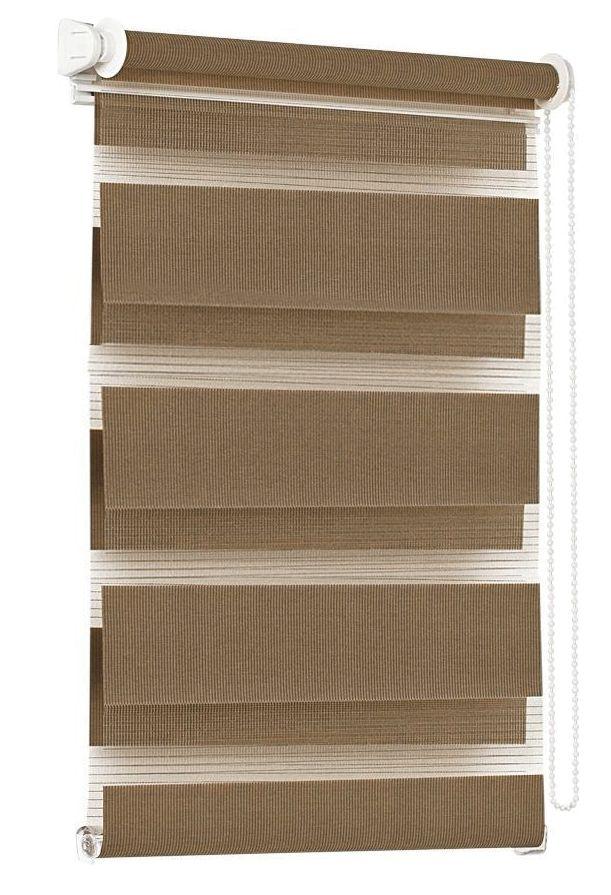 Штора рулонная Эскар Миниролло. День-Ночь, цвет: какао, ширина 52 см, высота 150 смK100Конструкции шторы День-Ночь являются уникальным и функциональным вариантом стандартных оконных ролло. Такие шторы представляют собой 2-слойное полотно, позволяющее регулировать уровень освещенности любого помещения. Рулонные слои образованы полосами ткани с различной прозрачностью, благодаря которым можно быстро подобрать уровень светопроницаемости. Данную модель возможно закрепить непосредственно на раму окна без сверления, с помощью специальных креплений. Однотонная палитра - будет идеально гармонировать в любом интерьере, сочетаться с обоями, мебелью и другими функциональными или стилевыми элементами.Преимущества применения рулонных штор для пластиковых окон: - имеют прекрасный внешний вид: многообразие и фактурность материала изделия отлично смотрятся в любом интерьере;- многофункциональны: есть возможность подобрать шторы способные эффективно защитить комнату от солнца, при этом она не будет слишком темной. - Есть возможность осуществить быстрый монтаж.ВНИМАНИЕ! Ширина изделия указана по ширине ткани! Для выбора правильного размера необходимо учитывать - ткань должна закрывать оконное стекло на 3 см.Во время эксплуатации не рекомендуется полностью разматывать рулон, чтобы не оторвать ткань от намоточного вала. В случае загрязнения поверхности ткани, чистку шторы проводят одним из способов, в зависимости от типа загрязнения:легкое поверхностное загрязнение можно удалить при помощи канцелярского ластика;чистка от пыли производится сухим методом при помощи пылесоса с мягкой щеткой-насадкой;для удаления пятна используйте мягкую губку с пенообразующим неагрессивным моющим средством или пятновыводитель на натуральной основе (нельзя применять растворители).