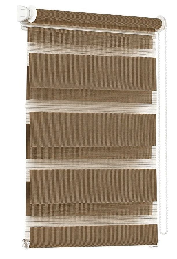 Штора рулонная Эскар Миниролло. День-Ночь, цвет: какао, ширина 68 см, высота 150 см40023068150Конструкции шторы День-Ночь являются уникальным и функциональным вариантом стандартных оконных ролло. Такие шторы представляют собой 2-слойное полотно, позволяющее регулировать уровень освещенности любого помещения. Рулонные слои образованы полосами ткани с различной прозрачностью, благодаря которым можно быстро подобрать уровень светопроницаемости. Данную модель возможно закрепить непосредственно на раму окна без сверления, с помощью специальных креплений. Однотонная палитра - будет идеально гармонировать в любом интерьере, сочетаться с обоями, мебелью и другими функциональными или стилевыми элементами.Преимущества применения рулонных штор для пластиковых окон: - имеют прекрасный внешний вид: многообразие и фактурность материала изделия отлично смотрятся в любом интерьере;- многофункциональны: есть возможность подобрать шторы способные эффективно защитить комнату от солнца, при этом она не будет слишком темной. - Есть возможность осуществить быстрый монтаж.ВНИМАНИЕ! Ширина изделия указана по ширине ткани! Для выбора правильного размера необходимо учитывать - ткань должна закрывать оконное стекло на 3 см.Во время эксплуатации не рекомендуется полностью разматывать рулон, чтобы не оторвать ткань от намоточного вала. В случае загрязнения поверхности ткани, чистку шторы проводят одним из способов, в зависимости от типа загрязнения:легкое поверхностное загрязнение можно удалить при помощи канцелярского ластика;чистка от пыли производится сухим методом при помощи пылесоса с мягкой щеткой-насадкой;для удаления пятна используйте мягкую губку с пенообразующим неагрессивным моющим средством или пятновыводитель на натуральной основе (нельзя применять растворители).