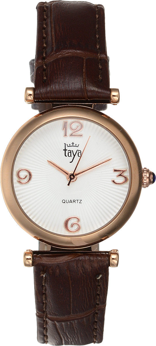Часы наручные женские Taya, цвет: золотистый, коричневый. T-W-00034106черныеЭлегантные женские часы Taya выполнены из минерального стекла, натуральной кожи и нержавеющей стали. Циферблат инкрустирован стразами и дополнен символикой бренда.Корпус часов оснащен кварцевым механизмом со сменным элементом питания, а также дополнен ремешком из натуральной кожи, который застегивается на пряжку. Ремешок декорирован тиснением под кожу рептилии.Часы поставляются в фирменной упаковке.Часы Taya подчеркнут изящность женской руки и отменное чувство стиля у их обладательницы.