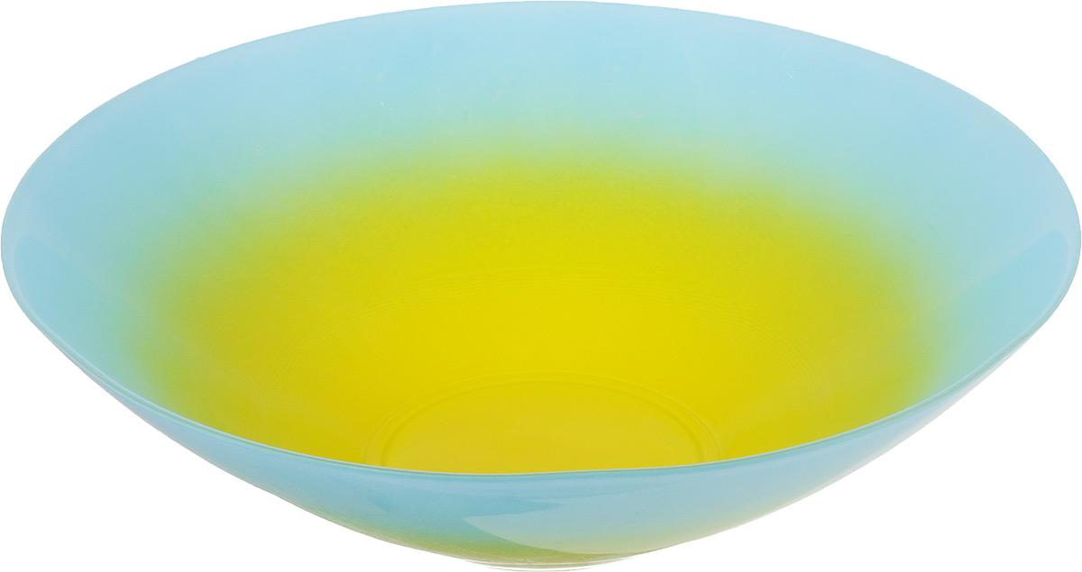 Салатник NiNaGlass Голландия, цвет: желтый, голубой, диаметр 25 см54 009312Салатник NiNaGlass Голландия выполнен из высококачественного двухцветного стекла с эффектом градиент. Салатник идеален для сервировки салатов, овощей, ягод, фруктов, гарниров и многого другого. Он отлично подойдет как для повседневных, так и для торжественных случаев.Такой салатник прекрасно впишется в интерьер вашей кухни и станет достойным дополнением к кухонному инвентарю.Диаметр салатника (по верхнему краю): 25 см.Высота стенки: 7,5 см.