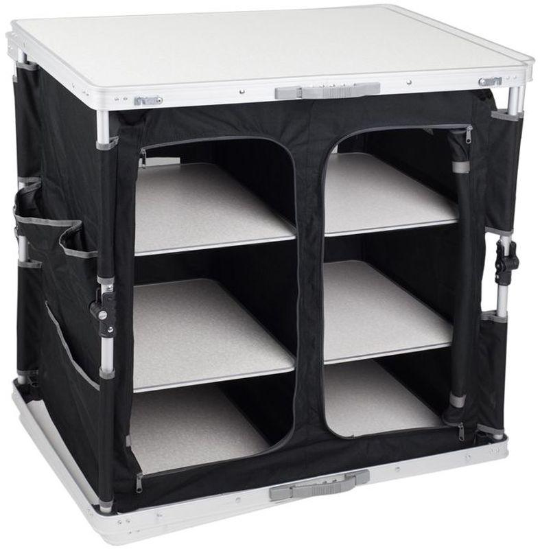Cтол - шкаф складной TREK PLANET Master Cook Alu 84 XL, кемпинговый, 84х50х80 смAC-585DОсобого внимания заслуживает складной двухсекционный кухонный стол MASTER COOK Alu 84 XL.Думаете, как обеспечить порядок, если выезжаете на природу на несколько дней?Нет ничего проще!Стол избавит вас от необходимости складывать продукты и посуду под дерево или в палатку и добавит комфорта и порядка в ваш отдых.Функциональный, с множеством карманов и 3 съемными полками в каждой секции, стол складывается в плоский чемоданчик с ручкой и не занимает много места.Сетчатый материал на задней панели обеспечивает необходимую вентиляцию. Рама и нижняя панель сделаны из алюминия, что гарантирует долгий срок службы изделия.Особенности: - Столешница из огнеупорного пластика.- Нижняя панель из алюминия.- 2 секции с дверцами на молнии.- 3 пластиковые съемные полки в каждой секции.- Карманы на боковых панелях.- Компактно складывается в плоский чемоданчик с ручкой для переноски. Материал:Столешница: огнеупорный пластик.Нижняя панель: алюминий.Материал: 600D полиэстер.Рама: 19 мм алюминий с матовым покрытием.Размер в разложенном виде: 84 х 50 х 80 см.Размер в сложенном виде: 50 х 80 х 8,5 см.Вес:10,6 кг.Нагрузка: 30 кг.Производство: Китай.Артикул: AC-585D.