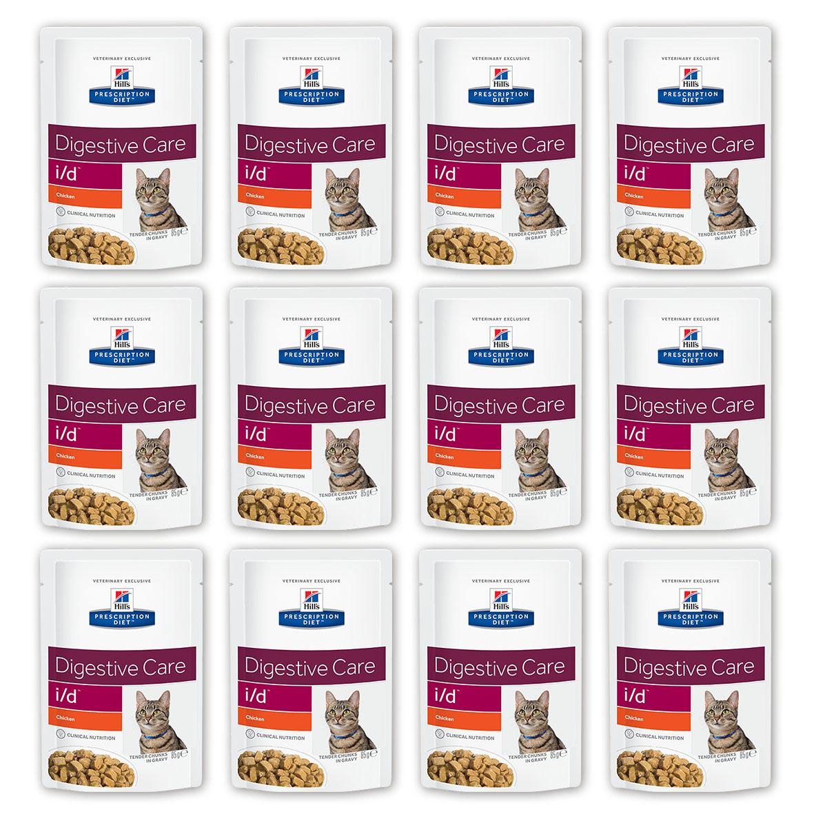 Консервы Hills Prescription Diet. I/D для кошек с заболеваниями ЖКТ, с курицей, 85 г, 12 шт0120710Консервы Hills Prescription Diet. I/D рекомендуются:- При заболеваниях желудочно-кишечного тракта: гастрите, энтерите, колите (наиболее распространенные причины диареи). - Для восстановления после хирургической операции на желудочно-кишечном тракте. - При недостаточности экзокринной функции поджелудочной железы. - При панкреатите без гиперлипидемии. - Для восстановления после легких хирургических процедур и состояний, незначительно ослабляющих организм. - Для котят в качестве повседневного питания. Обеспечивает полноценное сбалансированное питание котятам (в течение короткого периода) и взрослым кошкам. Не рекомендуется кошкам с задержкой натрия в организме.Ключевые преимущества: - Высокая перевариваемость продукта улучшает всасывание нутриентов и способствует восстановлению желудочно-кишечного тракта. - Содержание жиров снижено, что помогает уменьшить стеаторею (маслянистый стул). - Повышенное содержание растворимой клетчатки обеспечивает поступление короткоцепочных жирных кислот, которые питают энтероциты и восстанавливают кишечную микрофлору. - Повышено содержание электролитов, витаминов группы B, что восполняет потерю этих нутриентов при рвоте и диарее. - Добавлена антиоксидантная формула, которая нейтрализует действие свободных радикалов, участвующих в развитии гастроэнтерита. Ингредиенты: курица (27%), свинина, крахмал тапиоки, лосось, пшеничная мука, концентрат растительного протеина, маисовый крахмал, глюкоза, целлюлоза, кальция фосфат, протеиновая мука, дрожжи, калия хлорид, подсолнечное масло, микроэлементы, витамины, карамель и окись магния.Среднее содержание нутриентов в рационе: протеин 8,3%, жиры 4,4%, углеводы (БЭВ) 6,4%, клетчатка (общая) 0,6%, влага 78,6%, кальций 0,23%, фосфор 0,18%, натрий 0,09%, калий 0,24%, магний 0,02%, Омега-3 жирные кислоты 0,12%, Омега-6 жирные кислоты 0,77%, таурин 613 мг/кг, Витамин A 16 900 МЕ/кг, Витамин D 260 МЕ/кг, Витамин