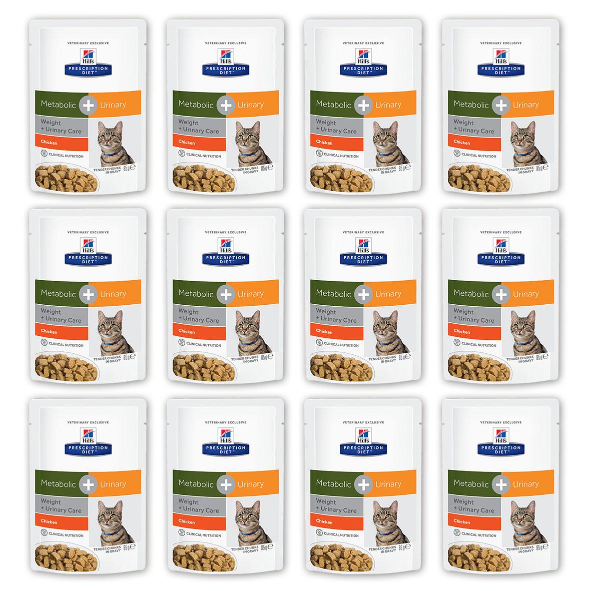 Консервы для кошек Hills Metabolic + Urinary, для коррекции веса при урологических заболеваниях, с курицей, 85 г, 12 шт24Консервы Hills Metabolic + Urinary - полноценный диетический рацион с клинически доказанной способностью уменьшать вероятность повторного проявления основных признаков заболеваний нижнего отдела мочевыводящих путей, и снижать вес на 11% за 60 дней. Ключевые преимущества- Комплекс нутриентов c клинически доказанной эффективностью в рационе Metabolic + Urinary учитывает индивидуальные энергетические потребности кошки, оптимизируя процесс сжигания жиров и влияя на эффективное использование калорий -Позволяет избежать повторного набора веса после прохождения программы по снижению веса- Клинически доказано: эффективно растворяет струвиты - Помогает вашей кошке оставаться сытой и удовлетворенной между кормлениями- Превосходный вкус, который понравится любой кошке.Рационы Hills Prescription Diet клинически протестированы, разработаны для поддержания и коррекции состояния у животных, имеющих проблемы со здоровьем при сохранении превосходных вкусовых характеристик. Состав: Мясо и производные животного происхождения, производные растительного происхождения, злаки, овощи, различные сахара, масла и жиры, экстракт растительного протеина, минералы, DL-метионин. Анализ: протеин 7,5 %, жиры 2,6 %, клетчатка (общая) 2,1 %, зола 1,1%, влага 81,0 %, кальций 0,15 %, фосфор 0,14 %, натрий 0,07 %, калий 0,13 %, магний 0,001 %, хлорид 0,16 %, сера 0,14 %.Добавки: витамин Е10 130 мг/кг, бета-каротин 0,3 мг/кг, таурин 535 мг, витамин D3 200 ме, железо 32,4 мг, йод 0,6 мг, медь 6,9 мг, марганец 3 мг, цинк 34,2 мг. Окрашено натуральной карамелью. Метаболизируемая энергия (расчет): 2,9 МДж/кг.Уважаемые клиенты! Обращаем ваше внимание на возможные изменения в дизайне упаковки. Качественные характеристики товара остаются неизменными. Поставка осуществляется в зависимости от наличия на складе.