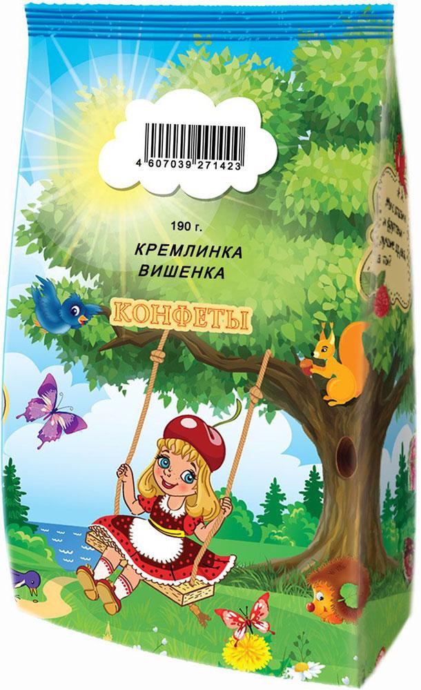 Кремлина Кремлинка вишенка конфеты глазированные с начинкой, 190 г4607039271423Яркая, сочная конфета на основе натурального цуката ананаса с вишневой джемовой начинкой в шоколадной глазури, приготовленная по уникальной рецептуре КФ Кремлина.