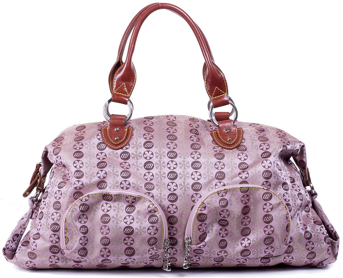 Сумка женская Unicorn, цвет: розовый, коричневый. CP-6366-63BM8434-58AEВместительная женская сумка Unicorn выполнена из текстиля с элементами натуральной кожи. Изделие имеет одно просторное отделение на застежке-молнии, которое разграничено надвое застегивающимся на молнию карманом-разделителем. Так же внутри большого отделения имеются два кармашка для мелочей и один прорезной на застежке-молнии. Снаружи сумка дополнена двумя накладными кармашками на молнии спереди, одним прорезным сзади. Изделие имеет две удобные для переноски ручки.