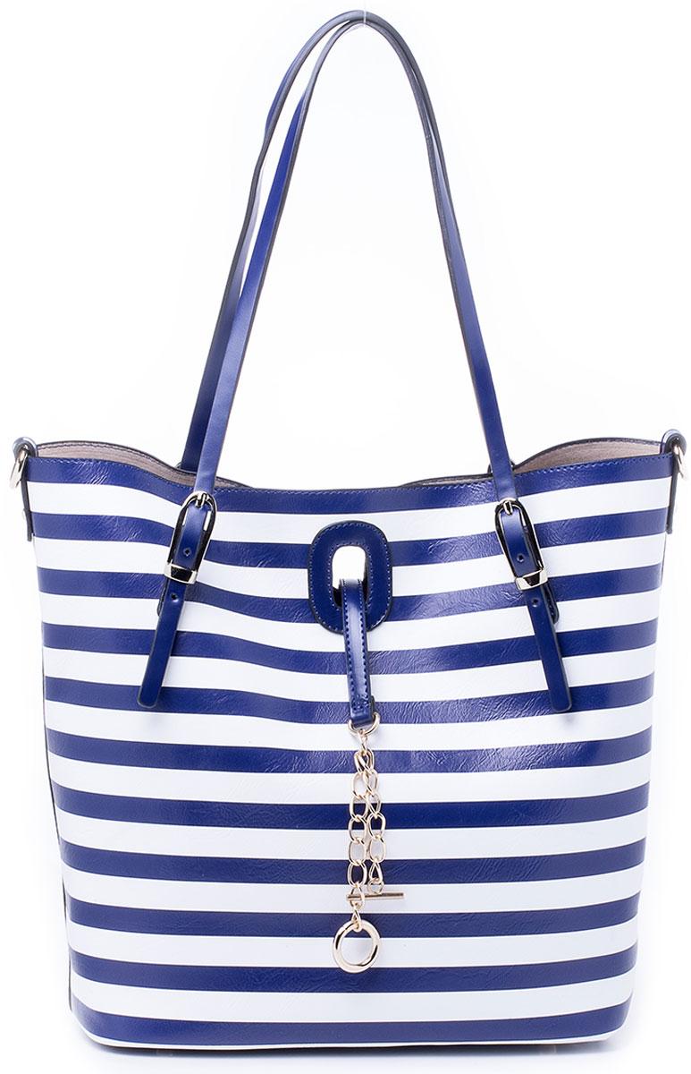 Сумка женская Renee Kler, цвет: синий, белый. RK7003-0671069с-2Крайне оригинальная и мультифункциональная сумка Renee Kler не оставит равнодушным. Изделие выполнено из экокожи и состоит из двух вложенных друг в друга частей: главной большой сумки и внутренней сумки поменьше. Большая сумка оснащена удобными ручками для переноски и имеет вместительное отделение, застегивающееся на фурнитурный клапан. Вложенная в нее сумка так же состоит из одного отделения, которое застегивается на молнию, однако, дополнена двумя накладными кармашками для телефона и мелочей, одним прорезным на молнии. Обе части оснащены кольцами для пристегивания плечевого ремня и могут использоваться как отдельные сумки, так и как одна с вложением. Плечевой регулируемый ремень на карабинах прилагается.