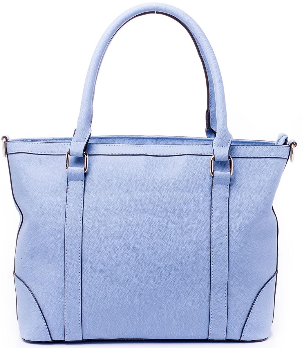 Сумка женская Renee Kler, цвет: голубой. RK7007-16EQW-M710DB-1A1Минималистичная сумка Renee Kler выполнена из экокожи. Изделие имеет одно вместительное отделение, закрывающееся на застежку-молнию и разграниченное надвое карманом-разделителем так же на молнии. Внутри главного отделения - два открытых накладных кармана для мелочей и вшитый карман на застежке-молнии. Сзади сумки так же находится прорезной карман на молнии. Изделие имеет две комфортные для переноски ручки на кольцах и отстегивающийся регулируемый наплечный ремень.