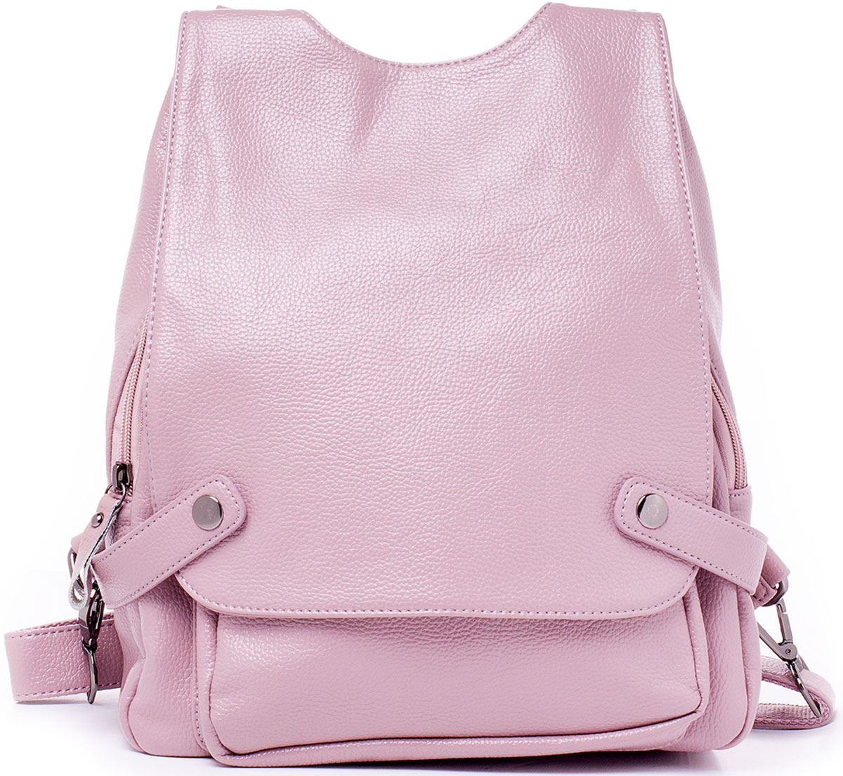 Рюкзак женский Baggini, цвет: розовый. 29850/63BM8434-58AEМногофункциональный рюкзак-трансформер Baggini обрадует вас своей практичностью и уникальностью. Рюкзак имеет две отстежные регулируемые наплечные лямки и одну отстежную ручку, все пристегивается и отстегивается на удобных карабинах. Благодаря этому, по вашему желанию, рюкзак может превращаться в сумку. Все передние карманы и отделения рюкзака надежно защищены от нежелательного проникновения большой пристегивающейся на кнопки крышкой. Под крышкой находится один вместительный накладной наружный карман на магнитной кнопке и главное отделение на застежке-молнии. Внутри отделения имеются два накладных кармашка для телефона или мелочей, один прорезной карман на застежке-молнии, карман-разделитель, так же на молнии, и накладной карман за ним. Снаружи рюкзака так же имеется один вертикальный прорезной карман на застежке-молнии, он находится на спинке изделия. Изделие исполнено из высококачественной экокожи. Обе отстежные лямки и ручка прилагаются.