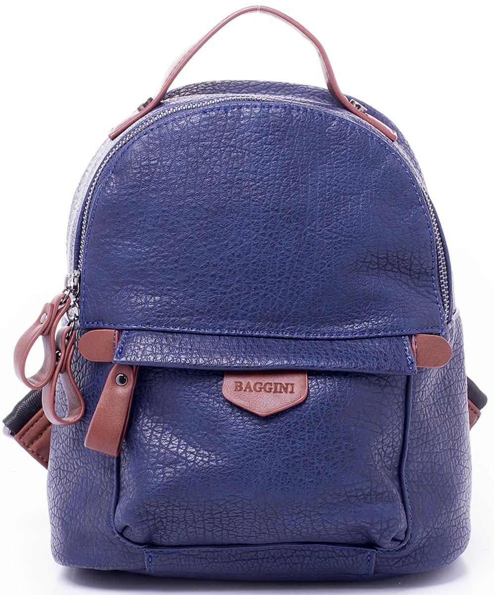 Рюкзак женский Baggini, цвет: синий. 29868/43S76245Компактный рюкзак Baggini подойдет как для создания романтичного и непринужденного образа, так и для функциональных потребностей к изделию. Рюкзак, несмотря на свои габариты, оснащен множеством карманов: один на застежке-молнии снаружи спереди, еще один, так же на молнии, сзади, четыре кармана внутри отделения - накладной для телефона, карман-разделитель на молнии, формирующий позади себя еще один карман и прорезной карман на застежке-молнии. Рюкзак оснащен широкими регулируемыми наплечными лямками и ручкой сверху для удобной переноски. Главное отделение застегивается на молнию. Изделие исполнено из экокожи.